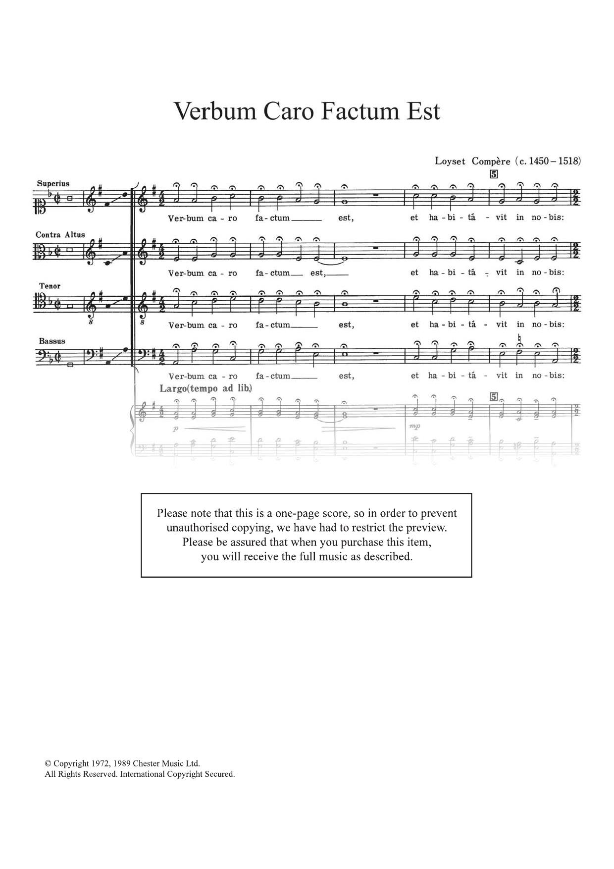Verbum Caro Factum Est Sheet Music