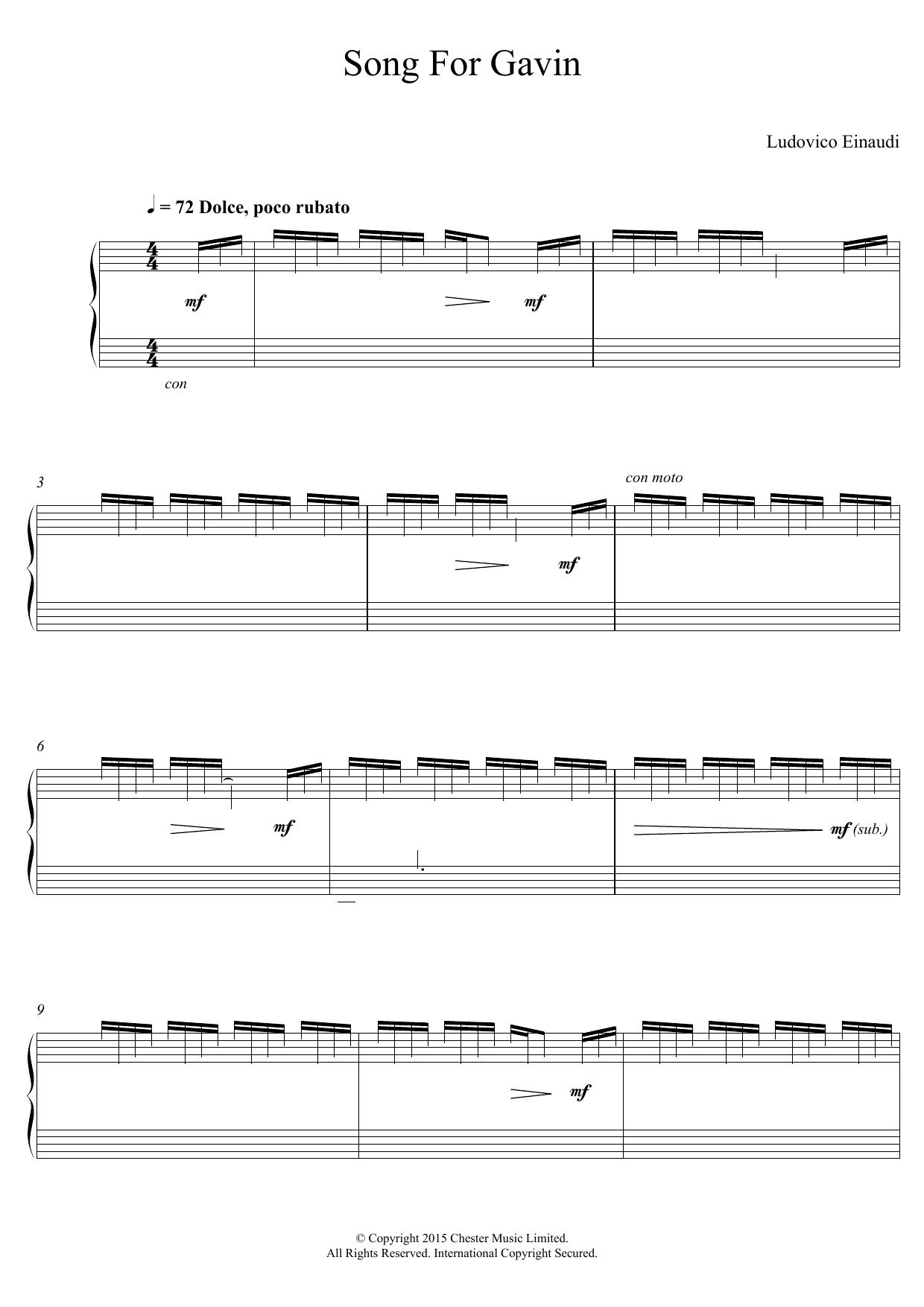 Song For Gavin Sheet Music