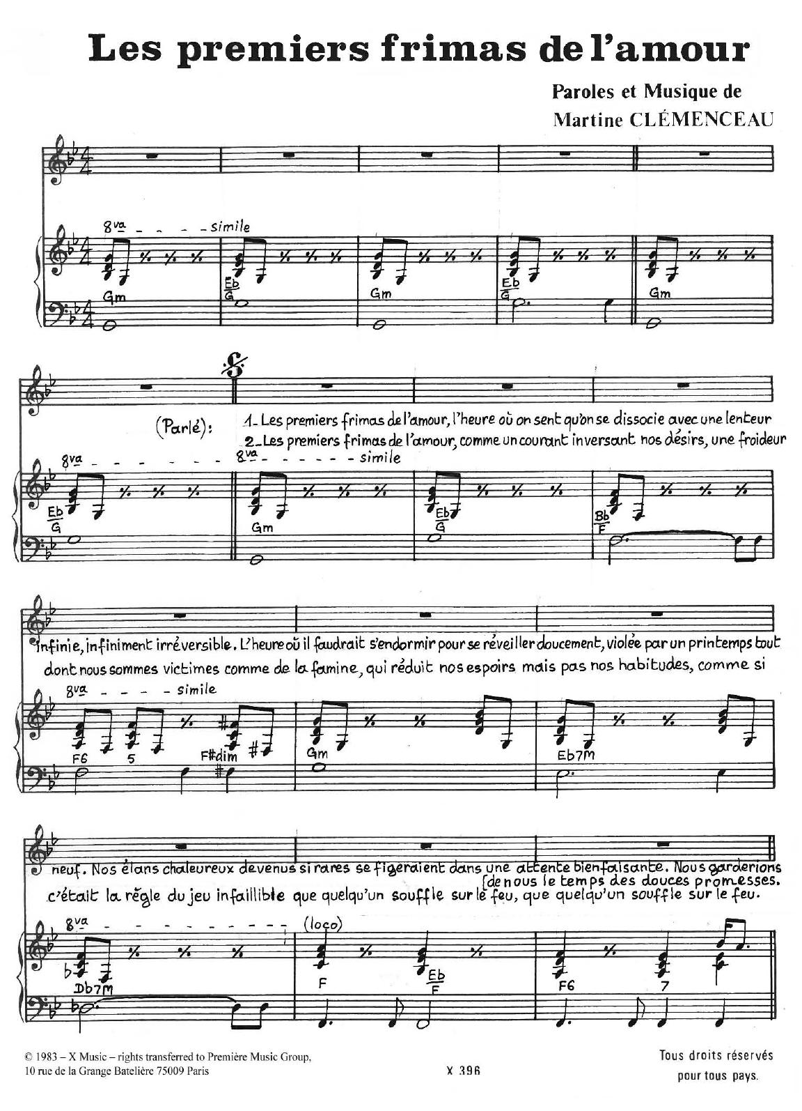 Les Premiers Frimas De L'amour Sheet Music