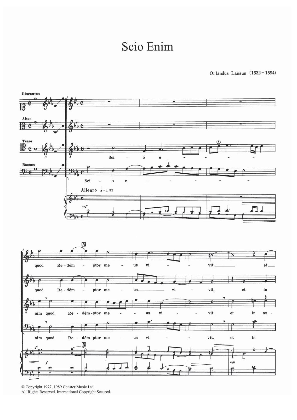 Scio Enim Sheet Music