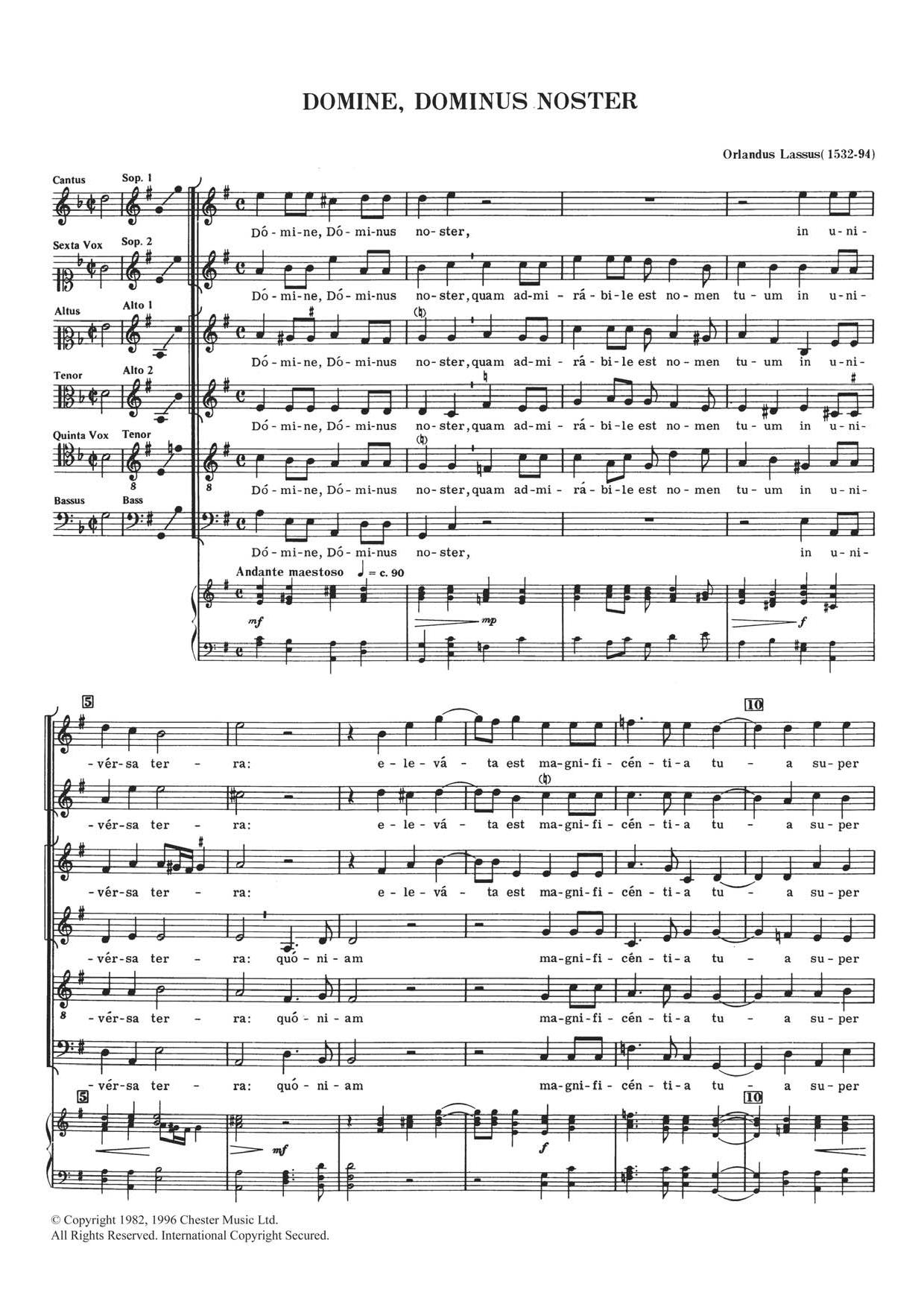 Domine, Dominus Noster Sheet Music
