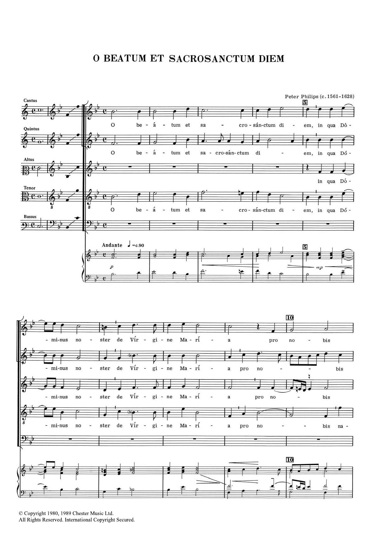O Beatum Et Sacrosanctum Diem Sheet Music