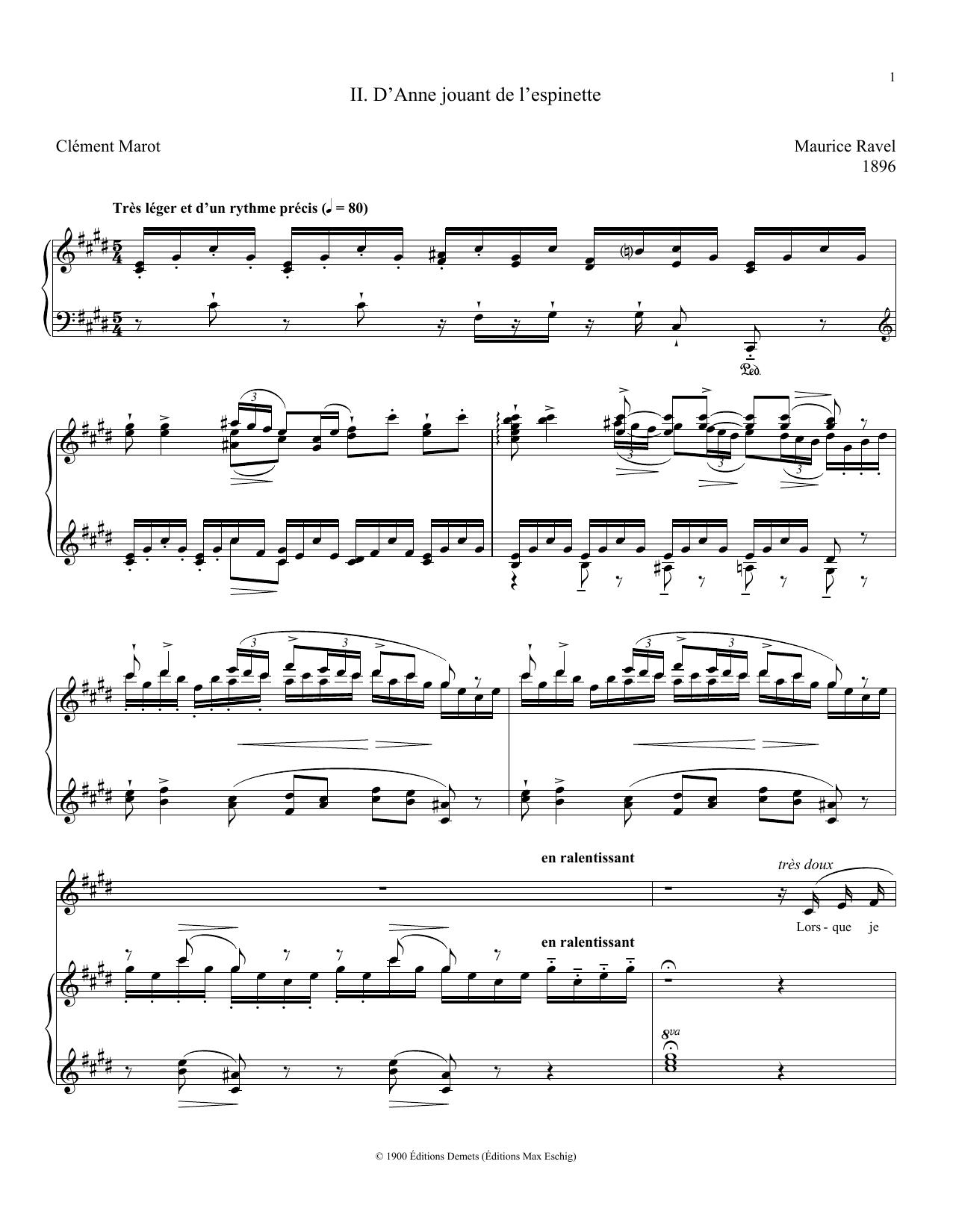 D'Anne Jouant De L'Espinette (Piano & Vocal)
