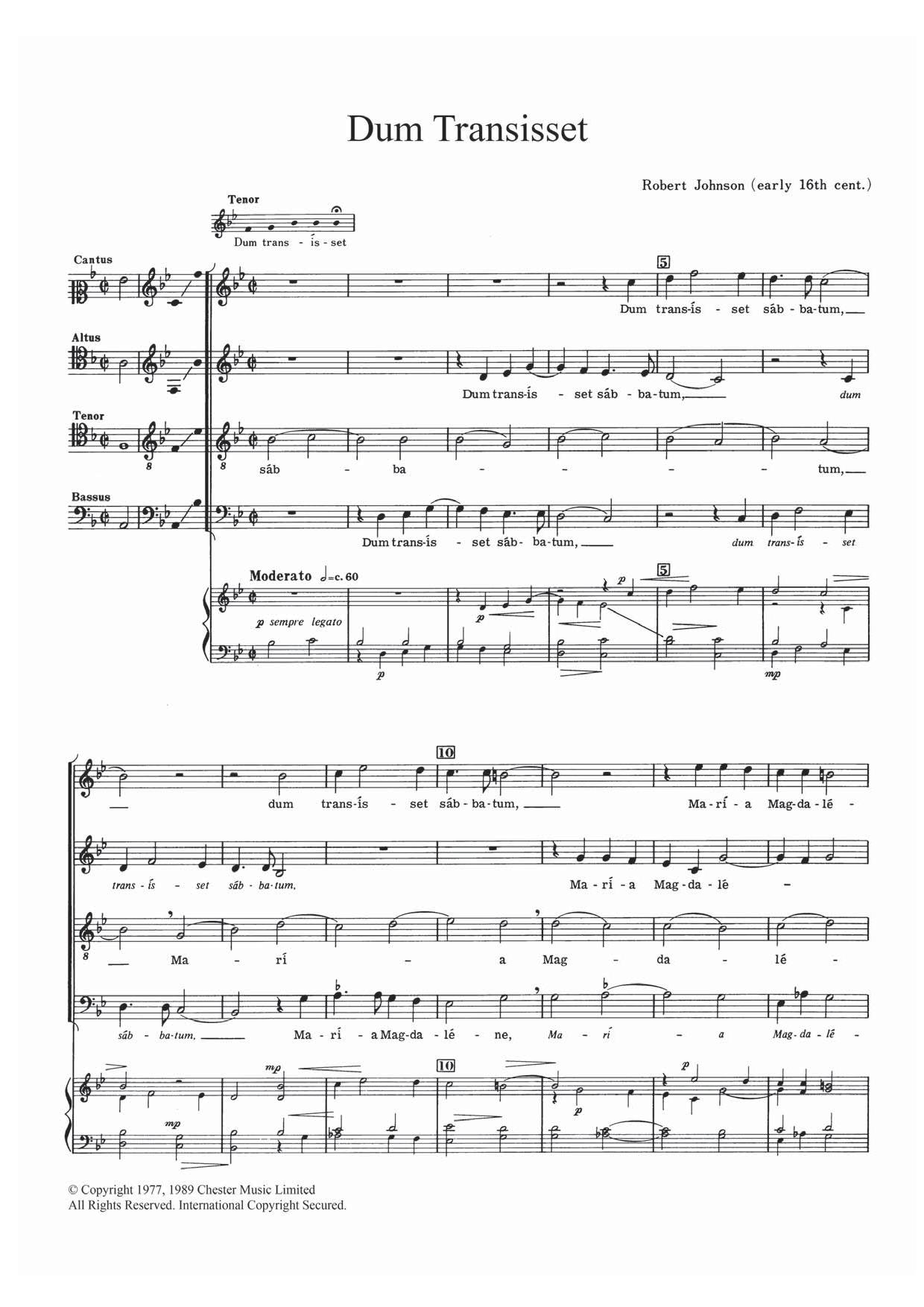 Dum Transisset Sheet Music