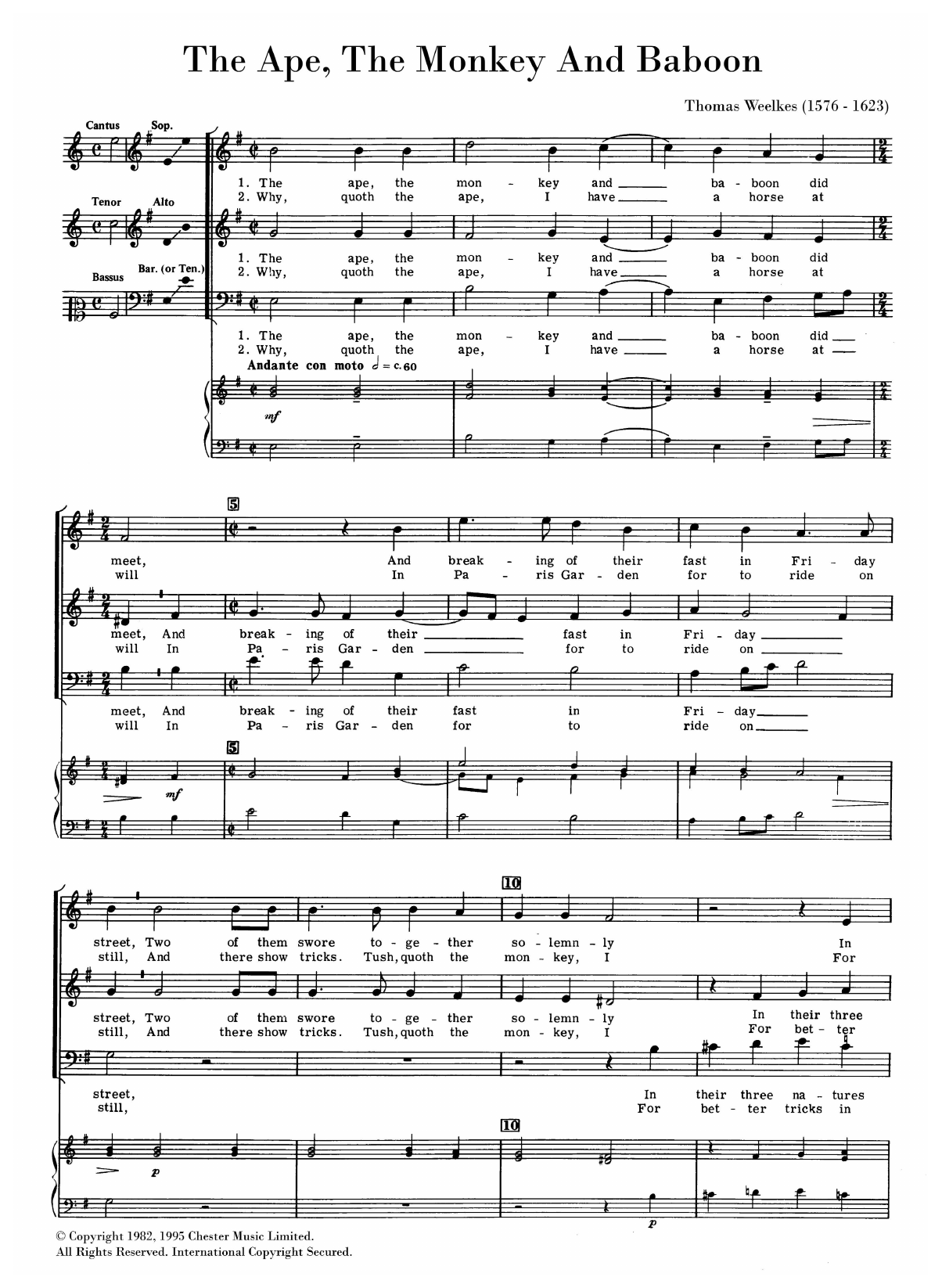 The Ape, The Monkey And Babboon Sheet Music