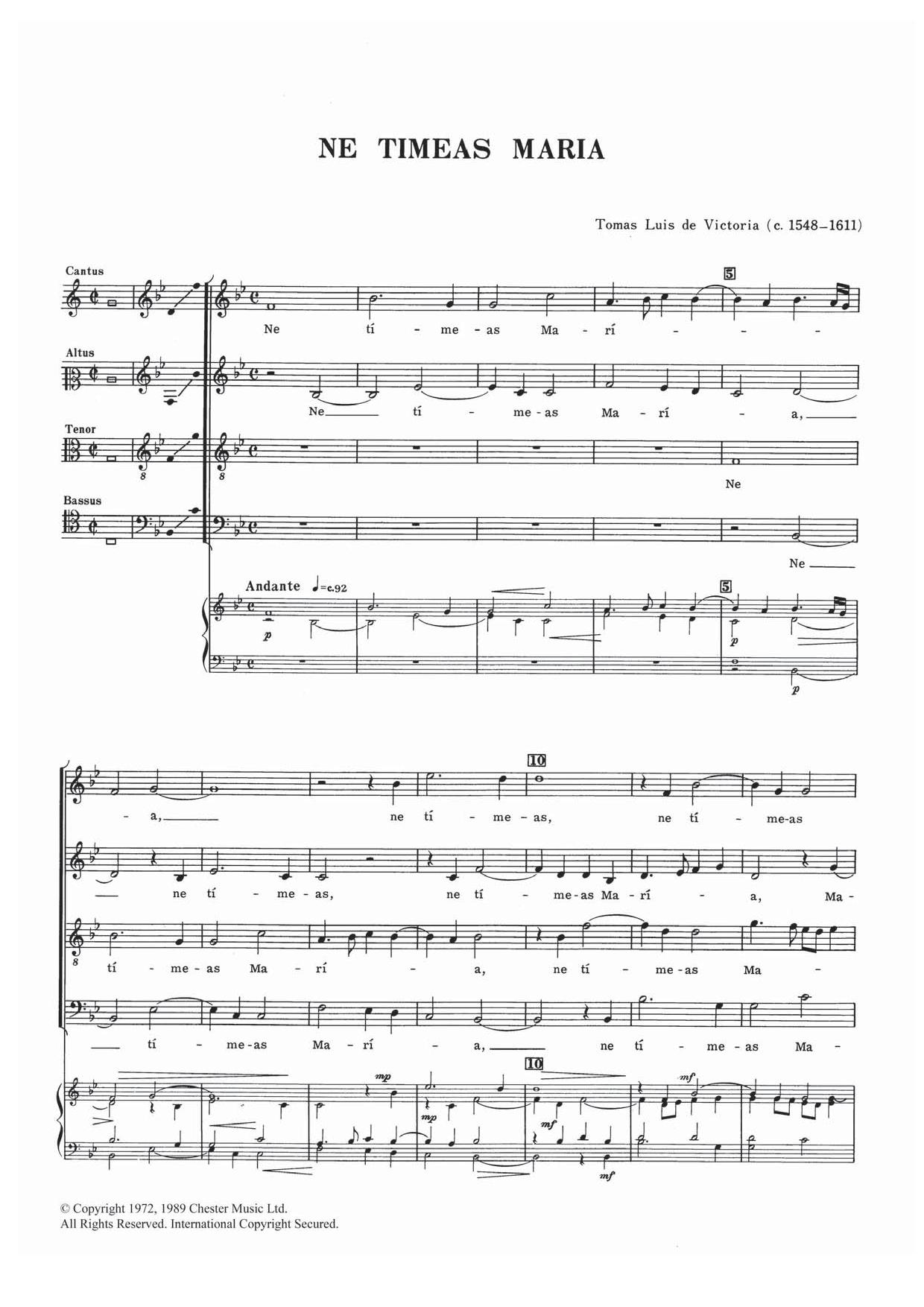 Ne Timeas Maria Sheet Music