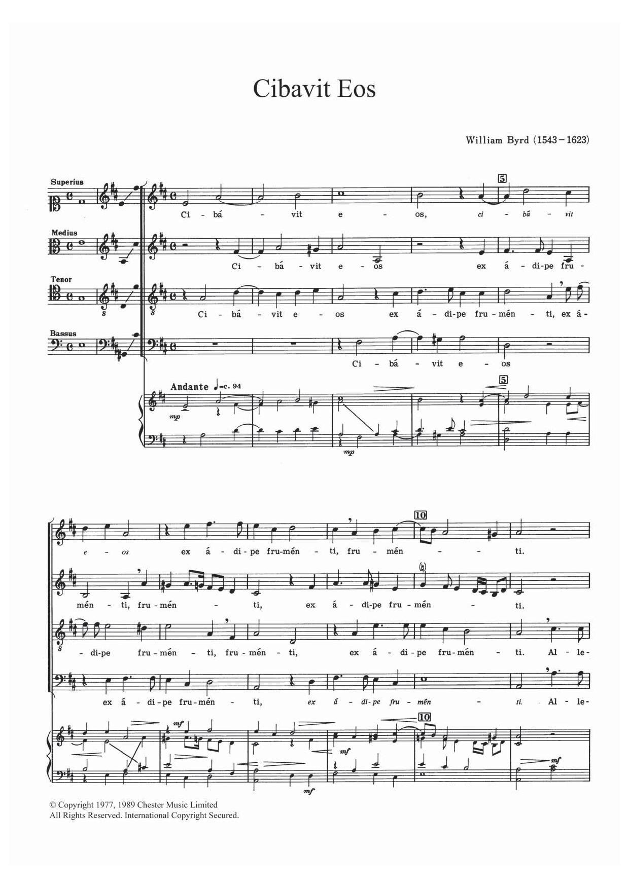 Cibavit Eos Sheet Music