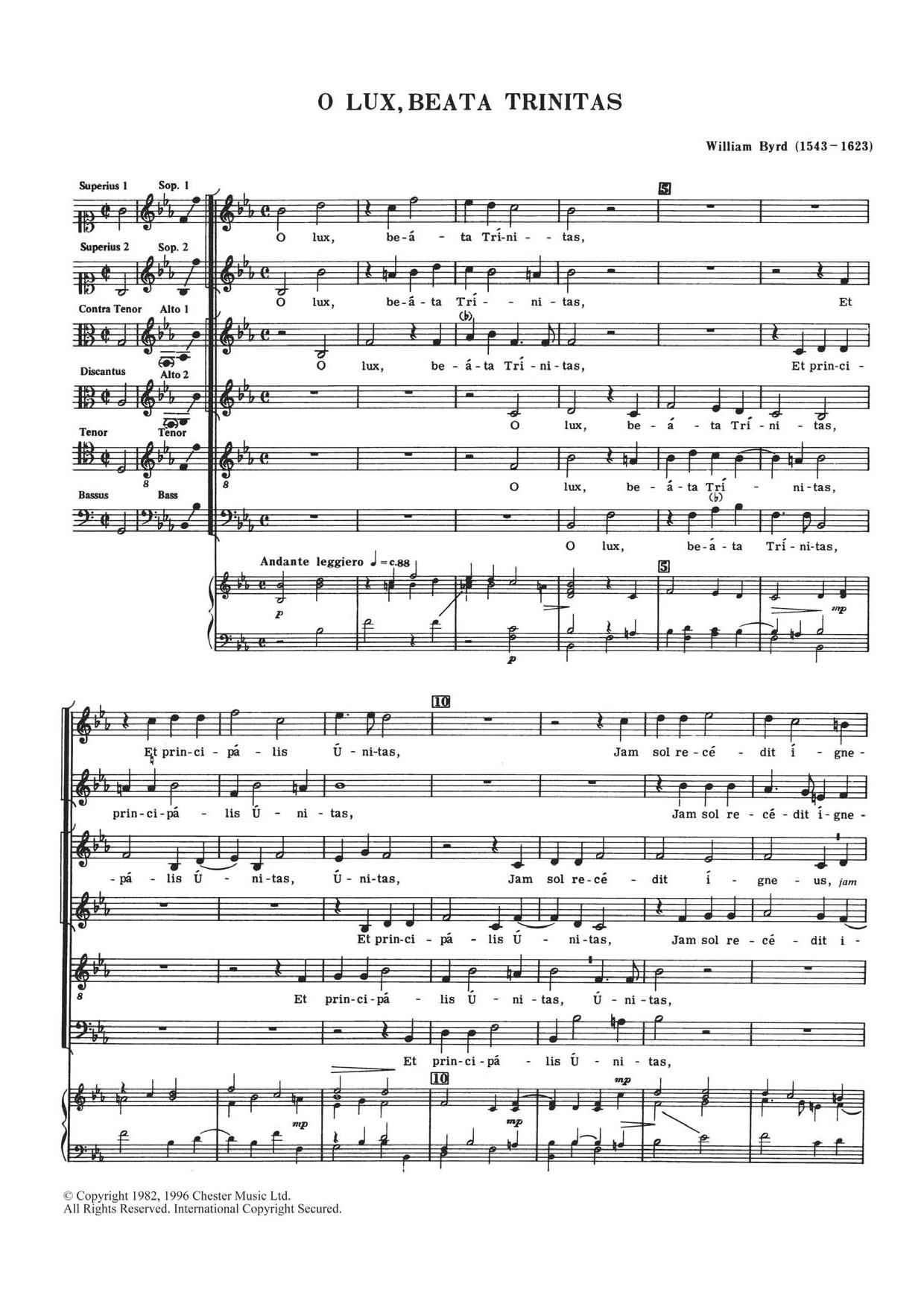 O Lux, Beata Trinitas Sheet Music
