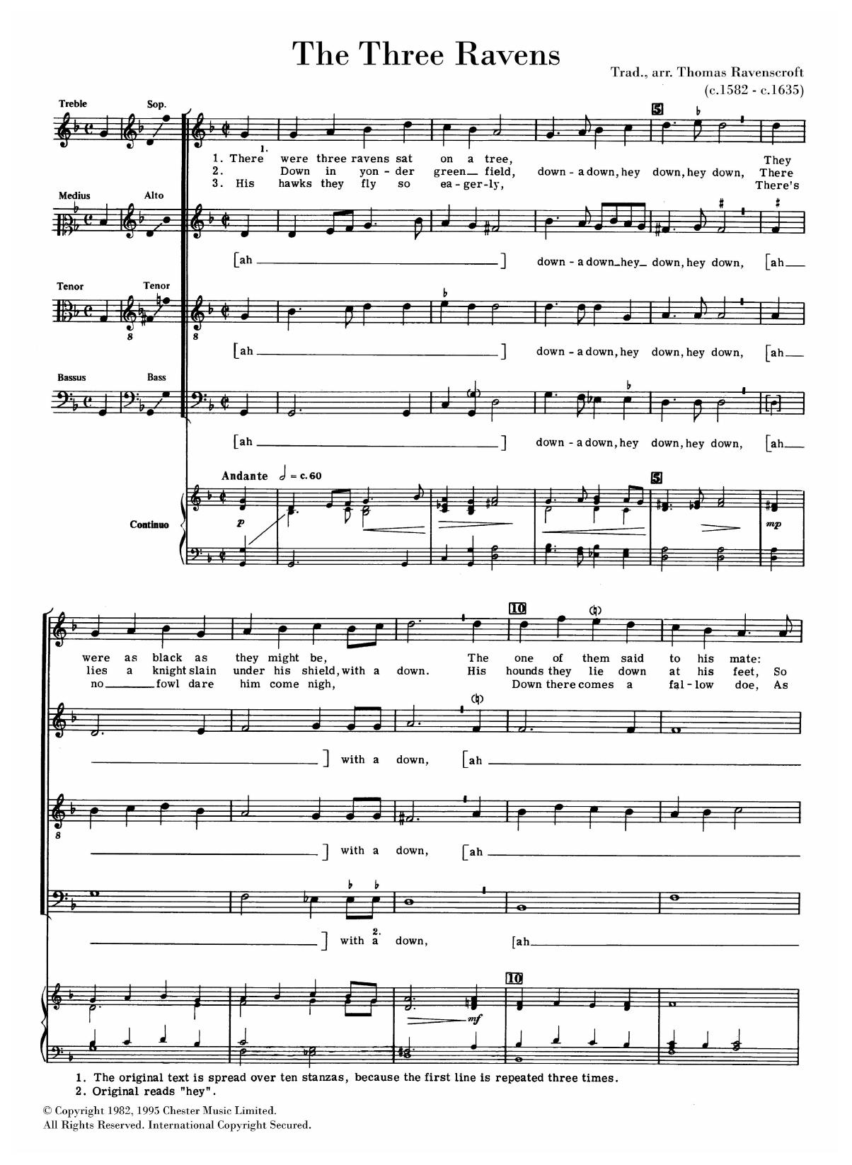 The Three Ravens Sheet Music