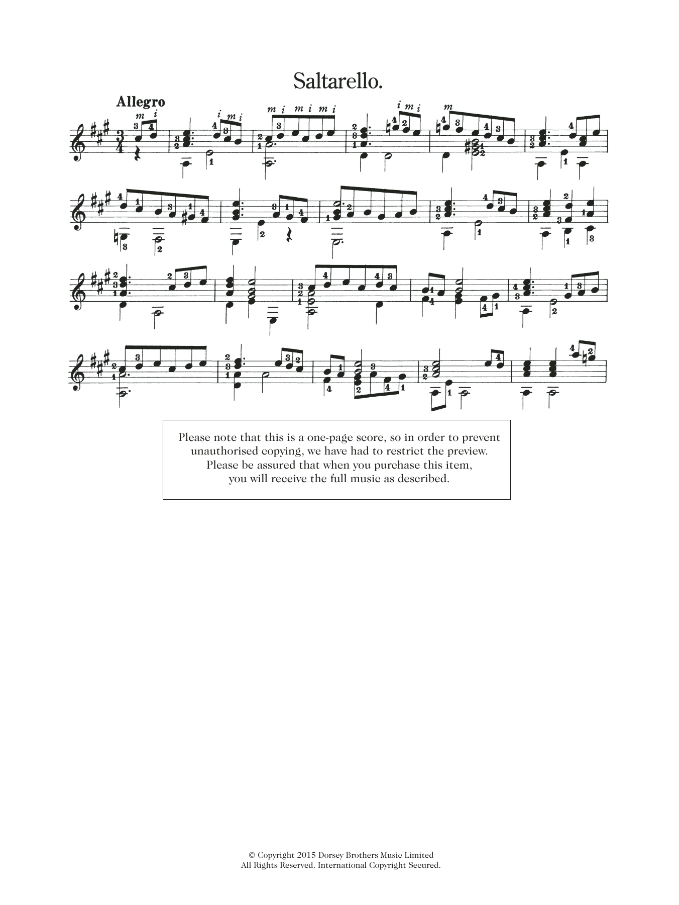 Saltarello Sheet Music
