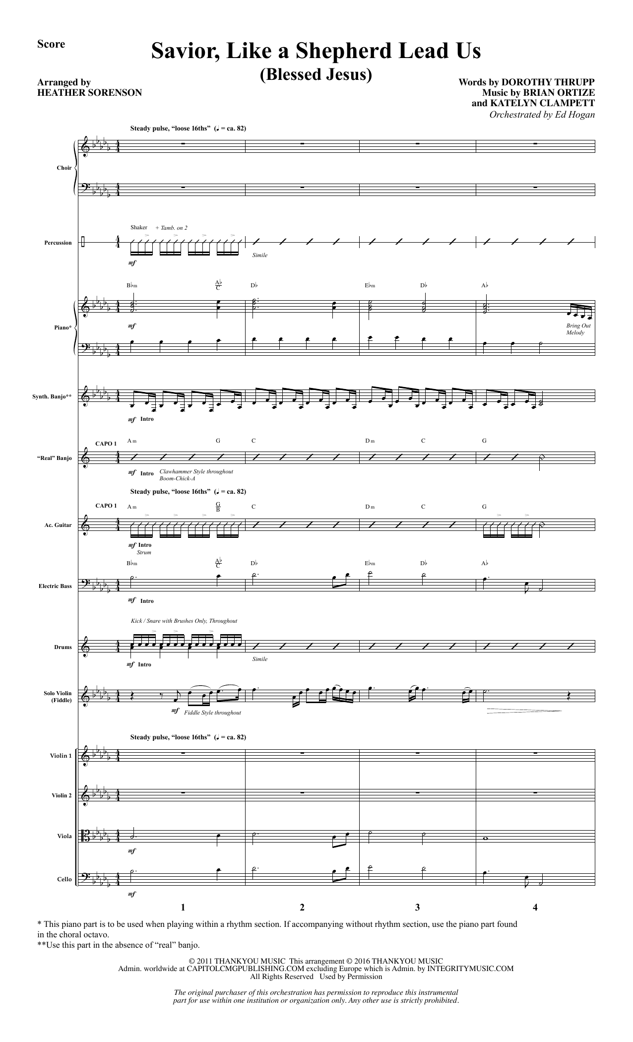 Savior, Like a Shepherd Lead Us (Blessed Jesus) (COMPLETE) sheet music for orchestra/band by Heather Sorenson. Score Image Preview.