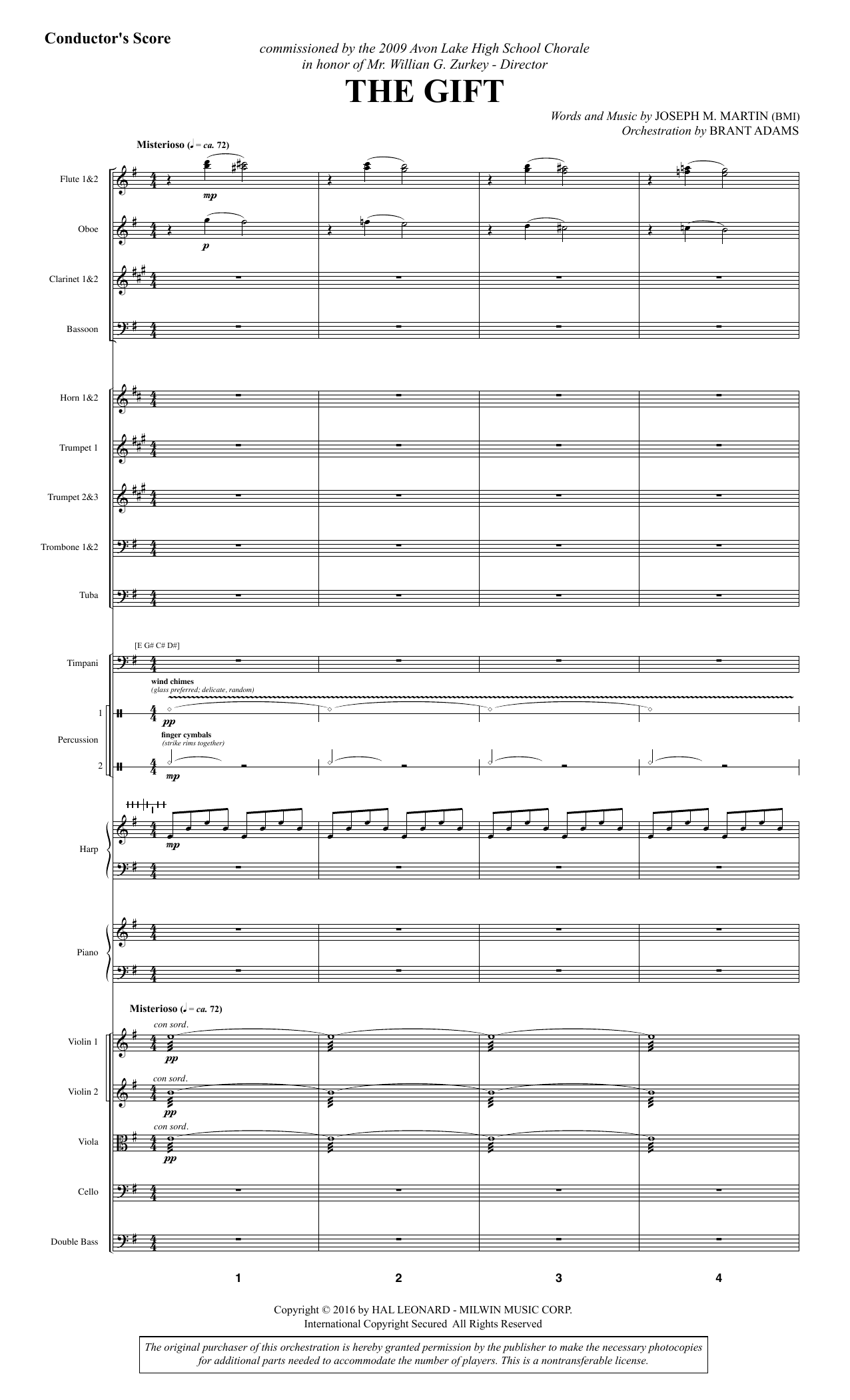 The Gift (COMPLETE) sheet music for orchestra/band by Joseph M. Martin. Score Image Preview.