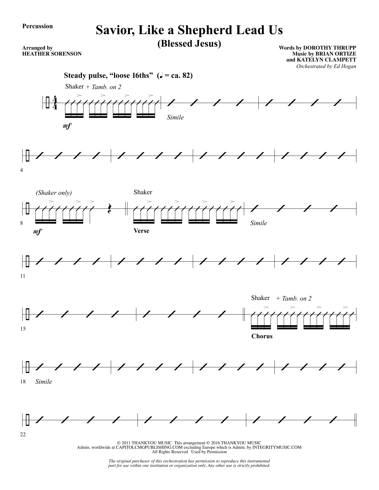 Savior, Like a Shepherd Lead Us (Blessed Jesus) - Percussion Sheet Music