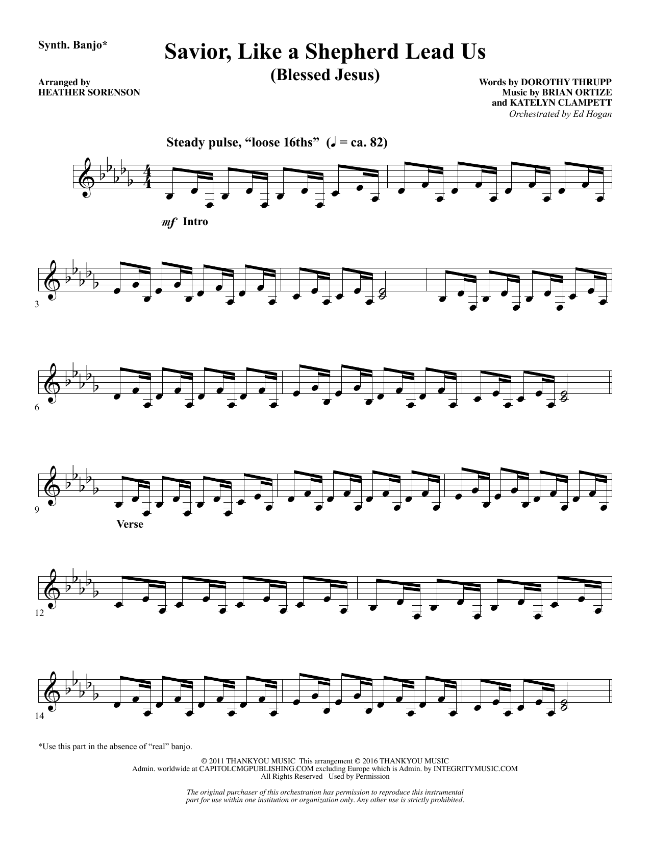 Savior, Like a Shepherd Lead Us (Blessed Jesus) - Synthesizer Sheet Music