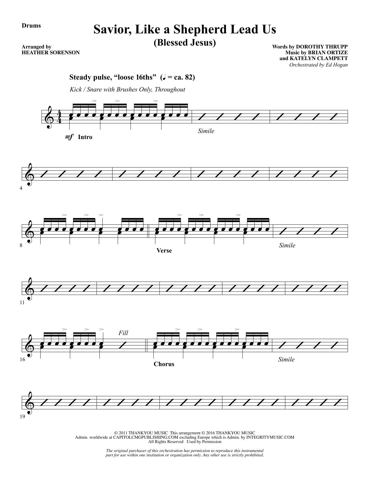 Savior, Like a Shepherd Lead Us (Blessed Jesus) - Drums Sheet Music