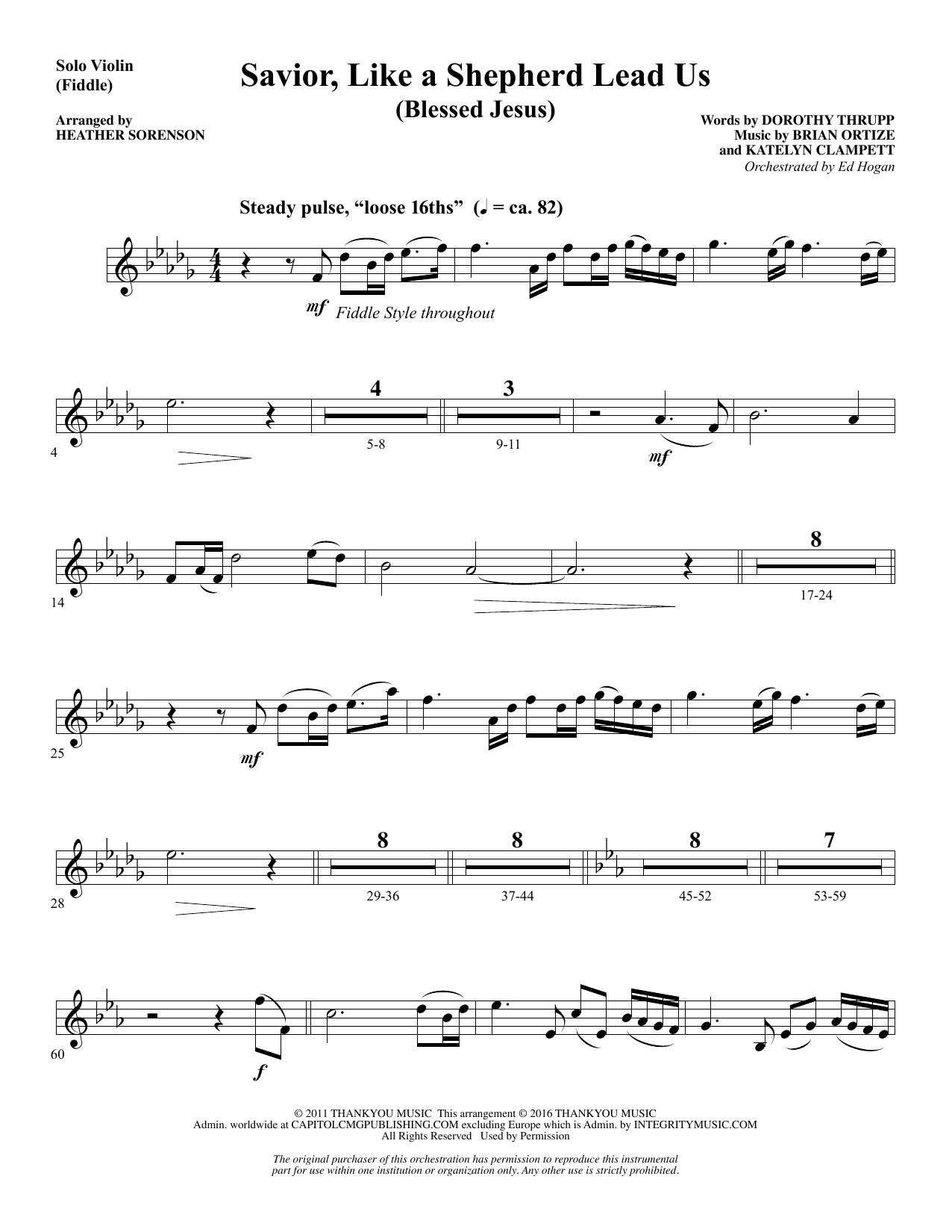 Savior, Like a Shepherd Lead Us (Blessed Jesus) - Fiddle/Violin Sheet Music
