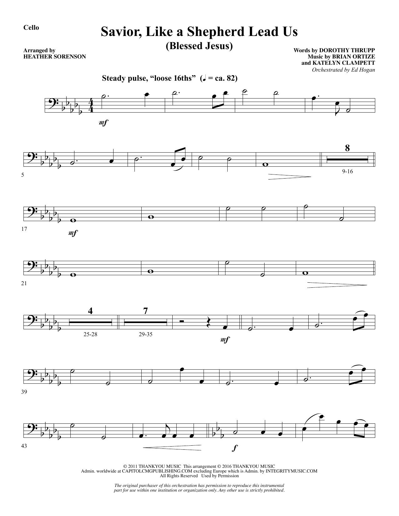 Savior, Like a Shepherd Lead Us (Blessed Jesus) - Cello Sheet Music
