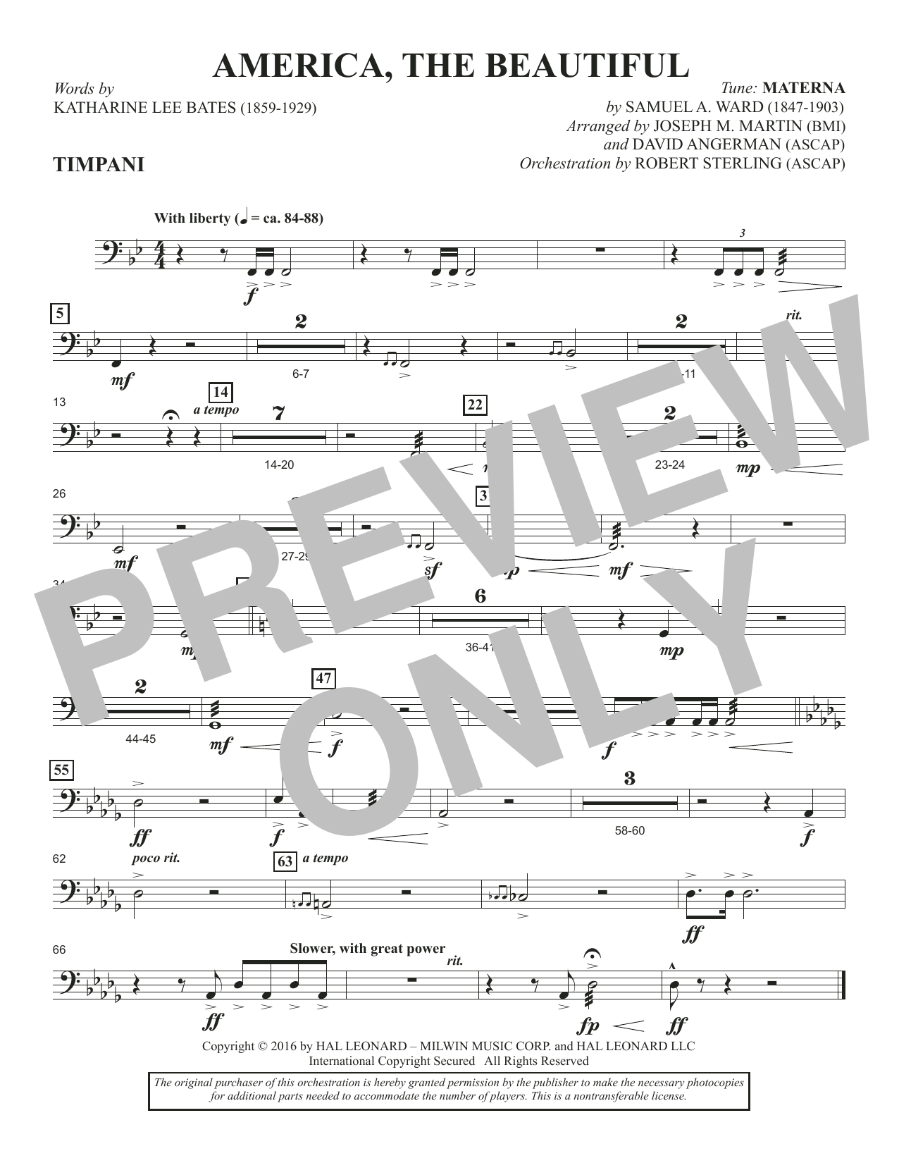 America, the Beautiful - Timpani Sheet Music