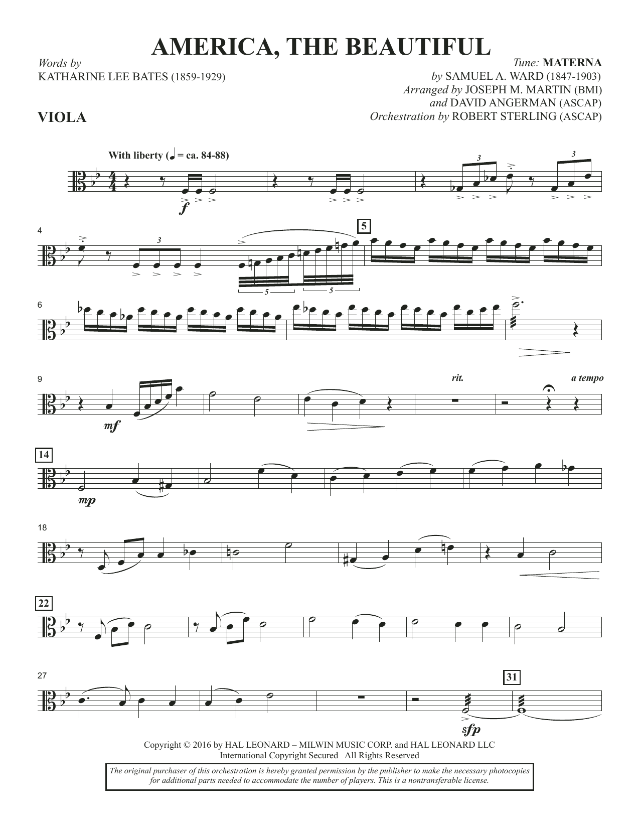 America, the Beautiful - Viola Sheet Music