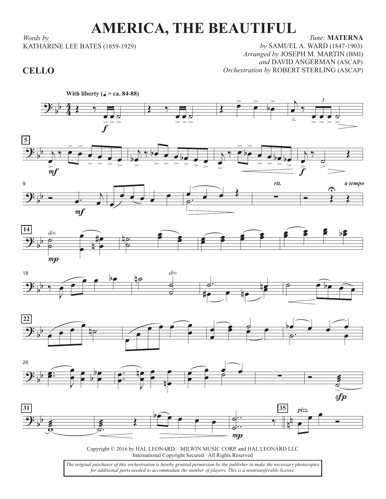 America, the Beautiful - Cello Sheet Music
