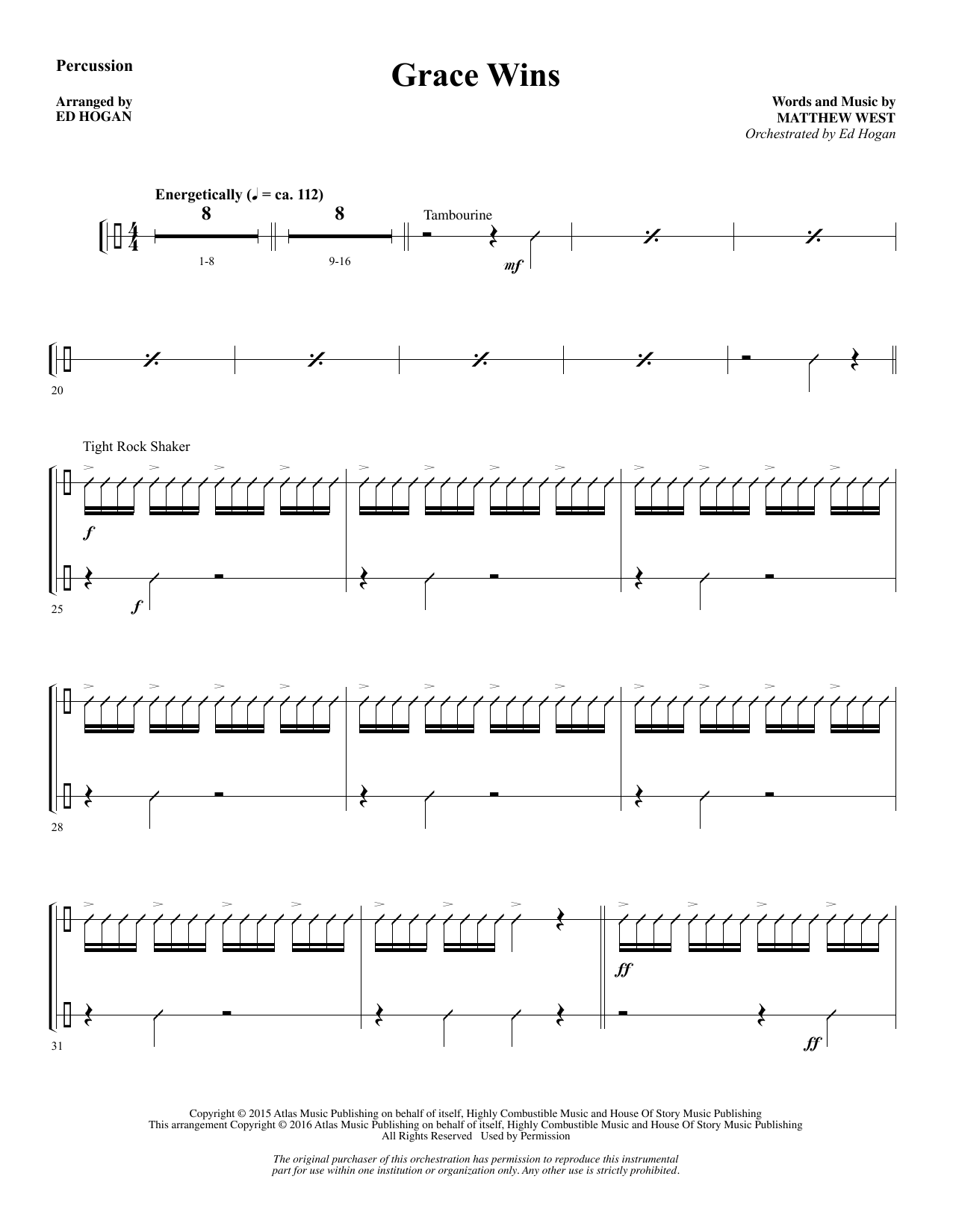 Grace Wins - Percussion Sheet Music
