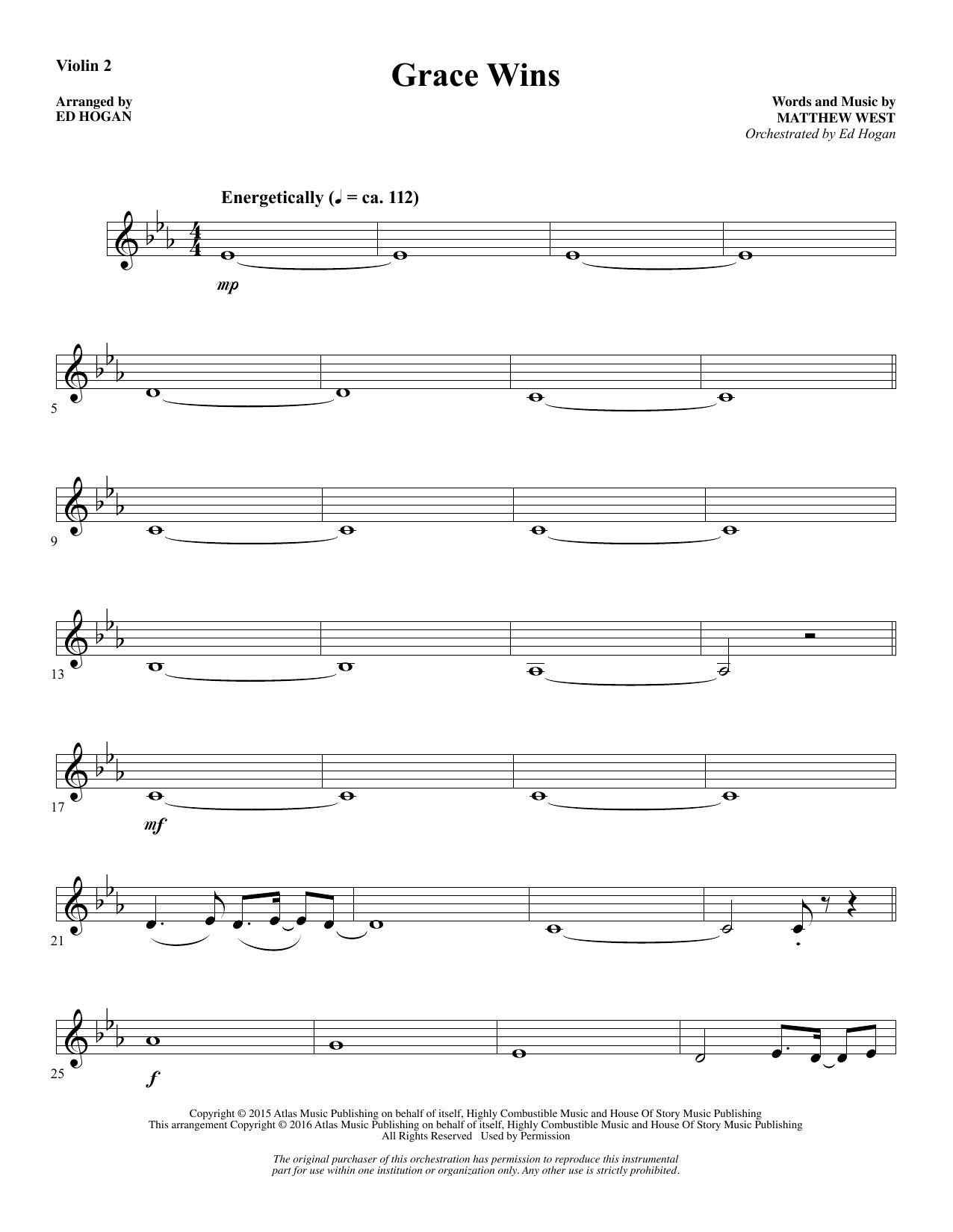 Grace Wins - Violin 2 Sheet Music