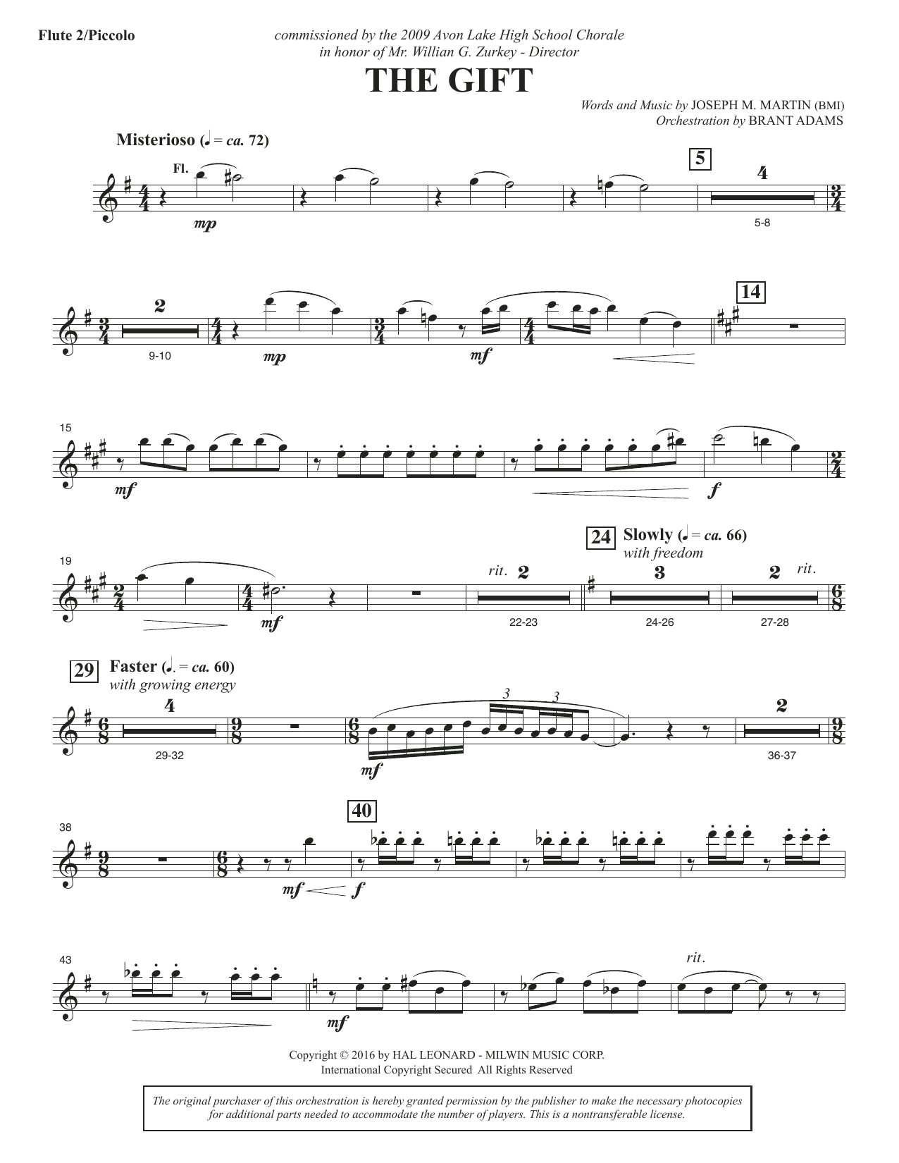 The Gift - Flute 2 (Piccolo) Sheet Music