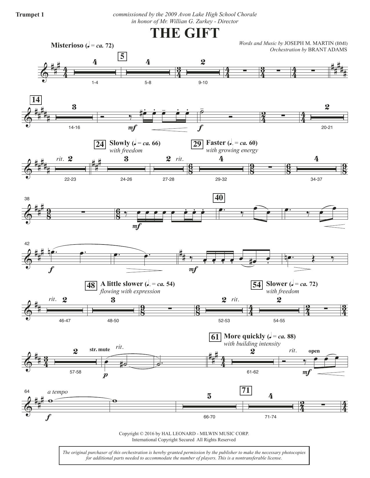 The Gift - Bb Trumpet 1 (Choir Instrumental Pak)