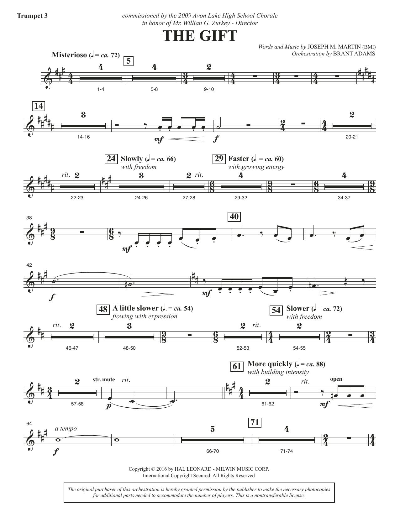 The Gift - Bb Trumpet 3 Sheet Music