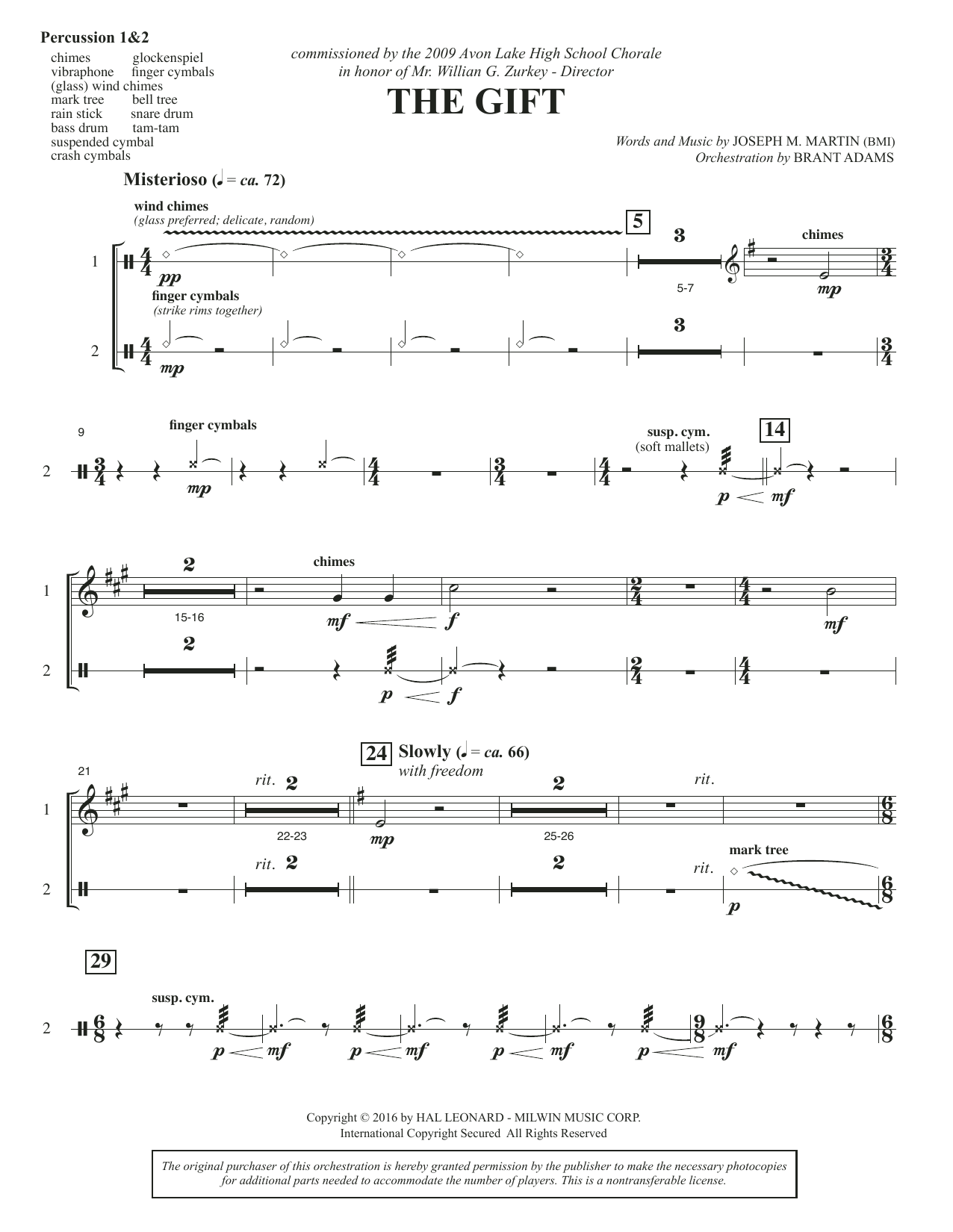 The Gift - Percussion 1 & 2 Sheet Music