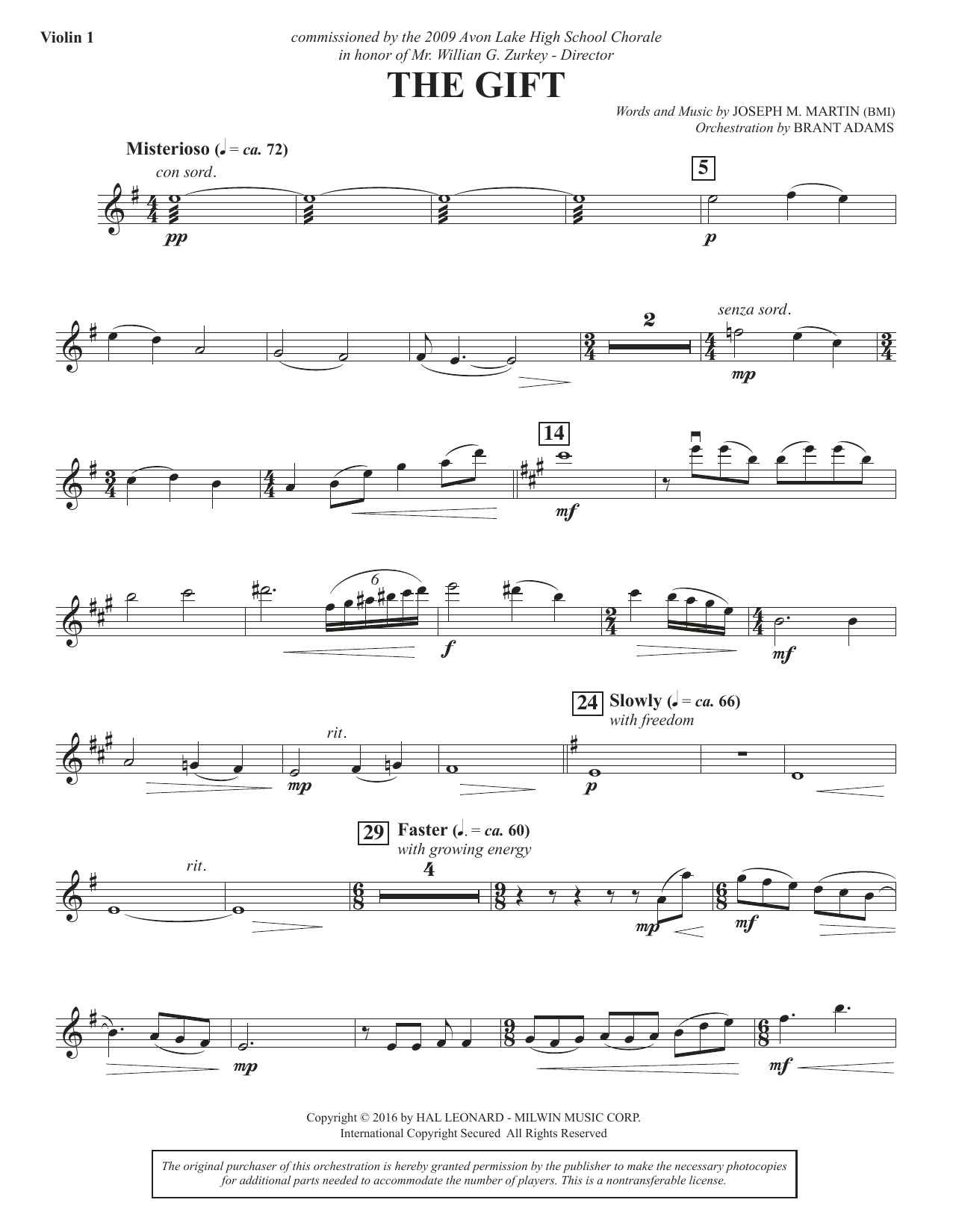 The Gift - Violin 1 Sheet Music