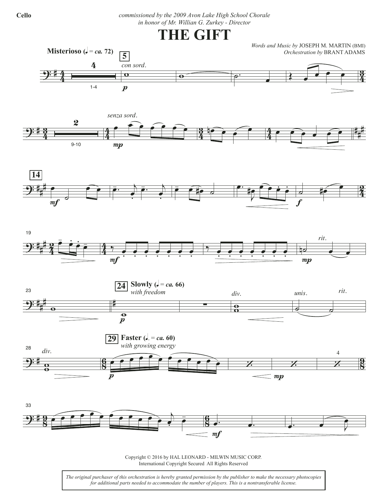 The Gift - Cello Sheet Music