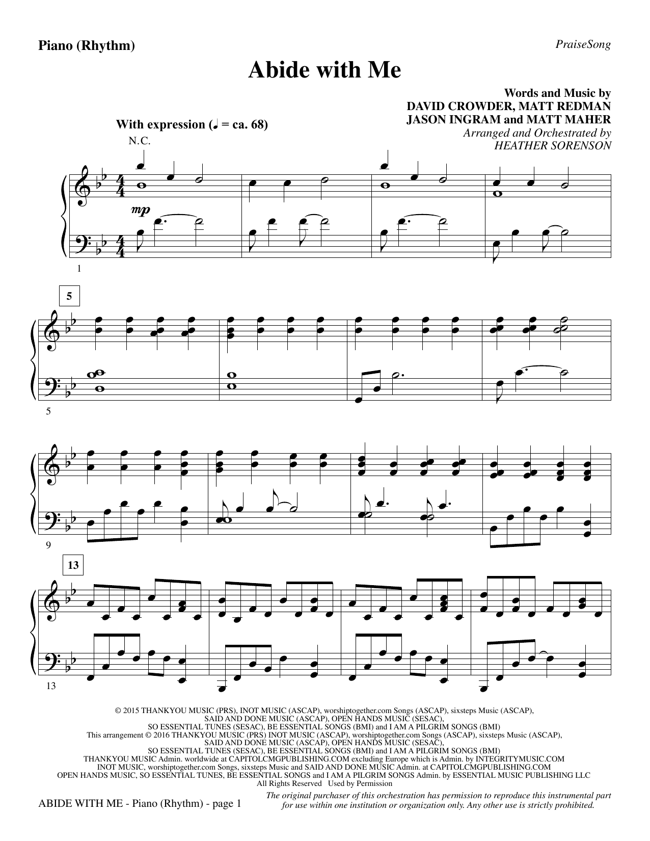 Abide with Me - Piano/Rhythm Sheet Music