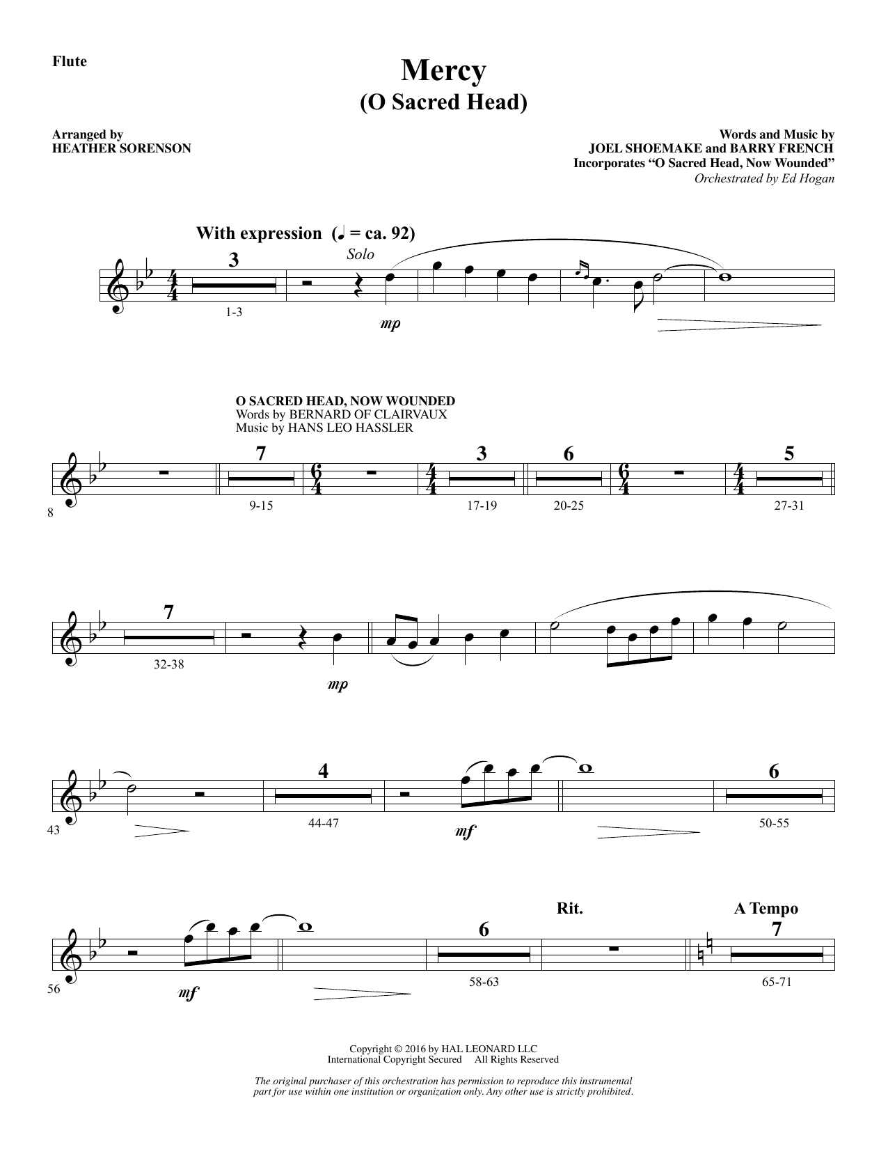 Mercy (O Sacred Head) - Flute Sheet Music
