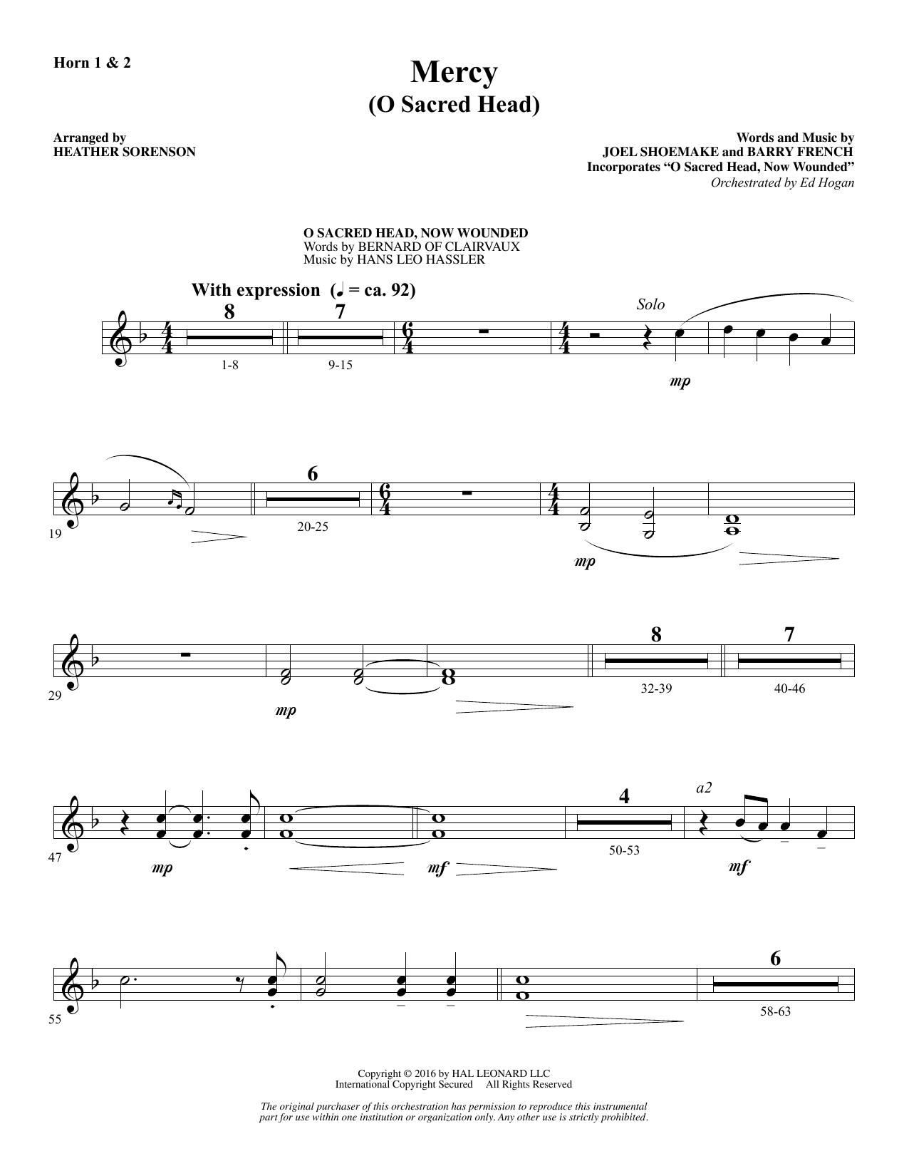 Mercy (O Sacred Head) - F Horn 1 & 2 Sheet Music