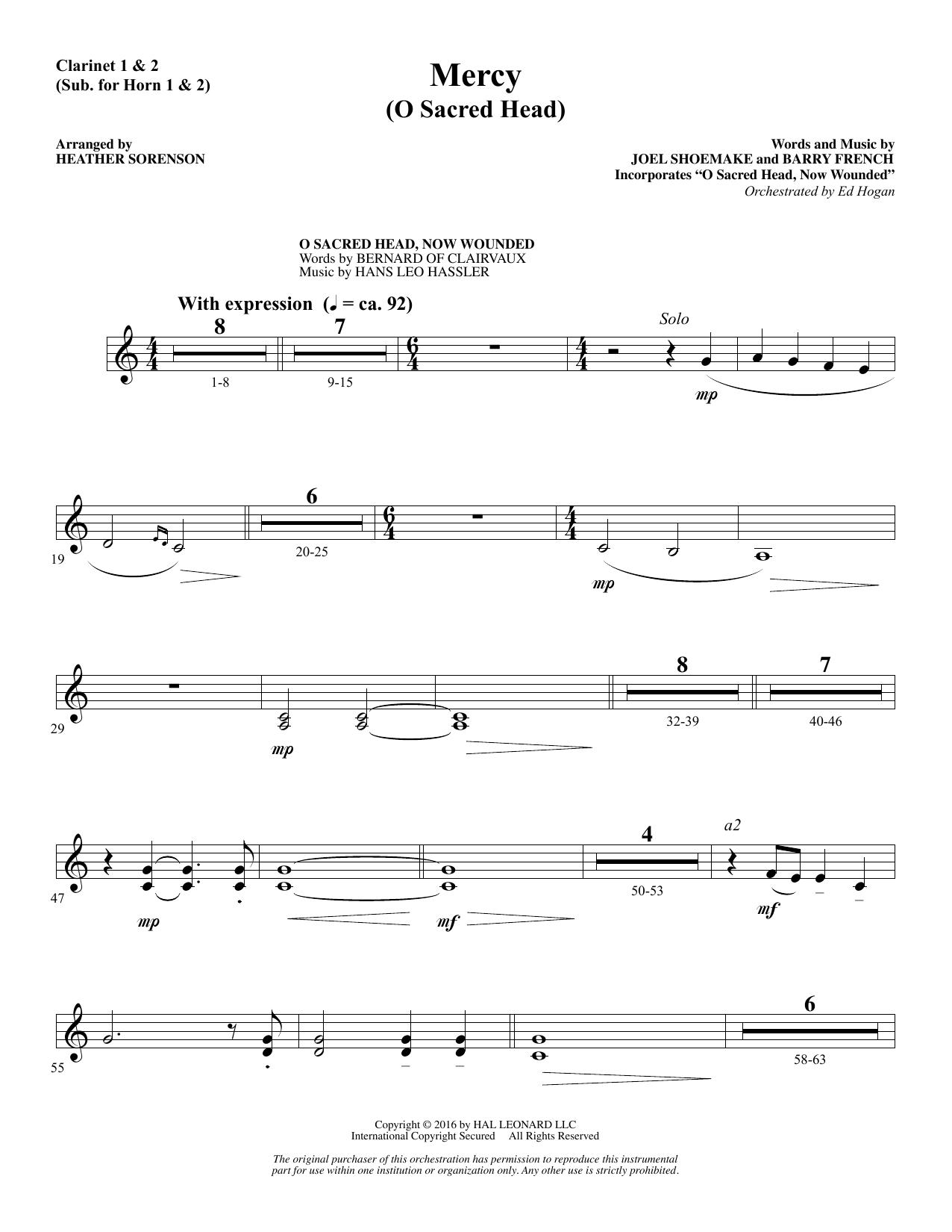 Mercy (O Sacred Head) - Clarinet (sub. Horn 1-2) Sheet Music
