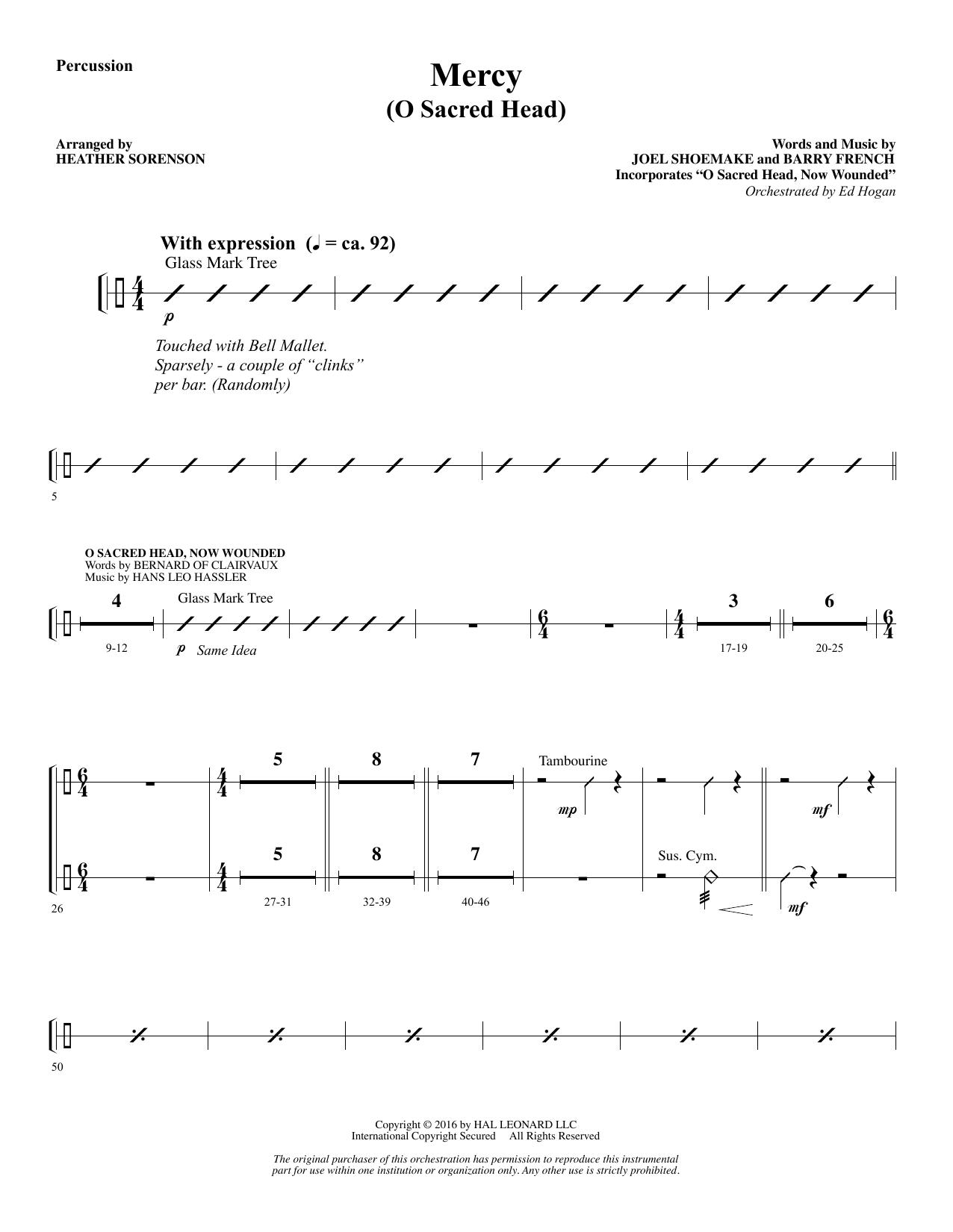 Mercy (O Sacred Head) - Percussion Sheet Music