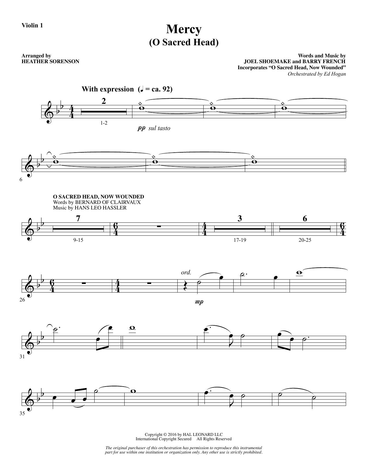 Mercy (O Sacred Head) - Violin 1 Sheet Music