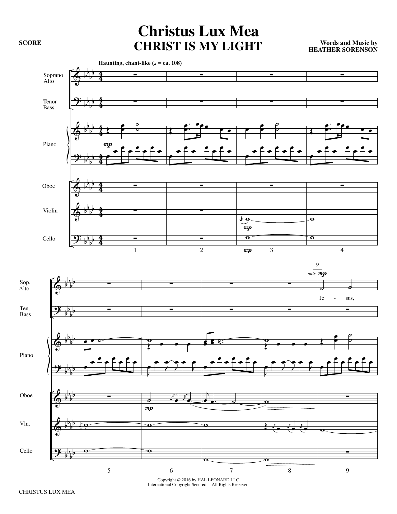 Christus Lux Mea (COMPLETE) sheet music for orchestra/band by Heather Sorenson. Score Image Preview.