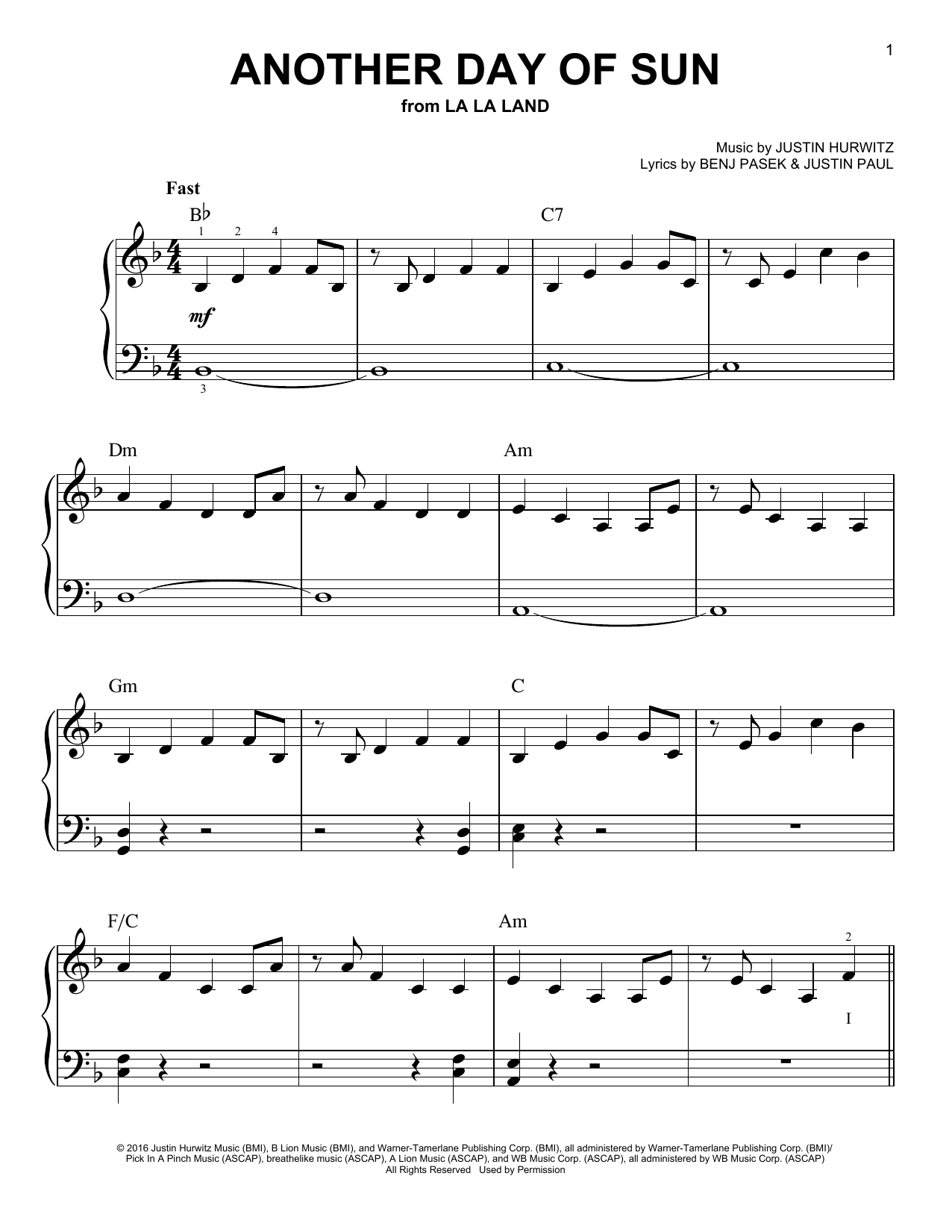 another day of sun piano sheet music free