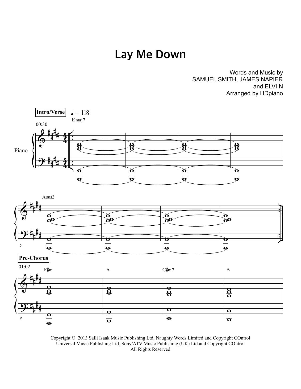 Lay Me Down Sam Smith Guitar Chords Sam Smith Lay Me Down