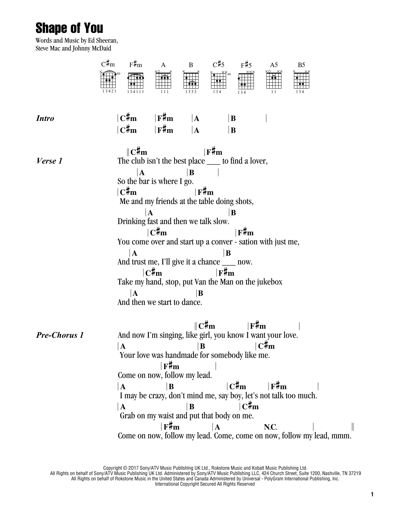 Shape of you sheet music by ed sheeran lyrics chords 178681 ed sheeran shape of you lyrics chords hexwebz Images