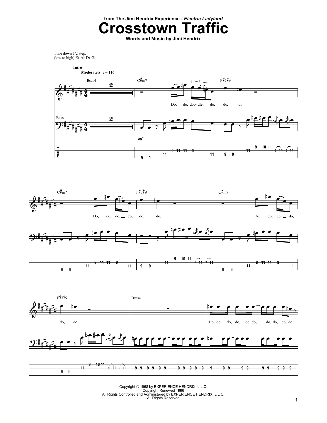 Crosstown Traffic (Bass Guitar Tab)