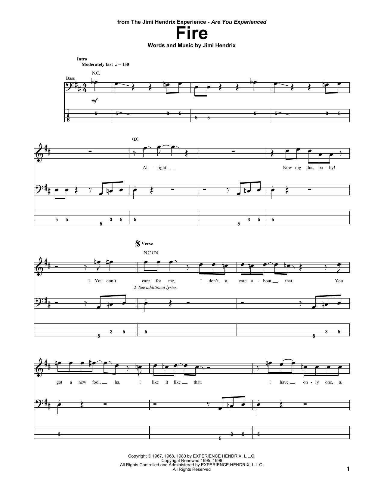 Fire Bass Guitar Tab By Jimi Hendrix Bass Guitar Tab 178694