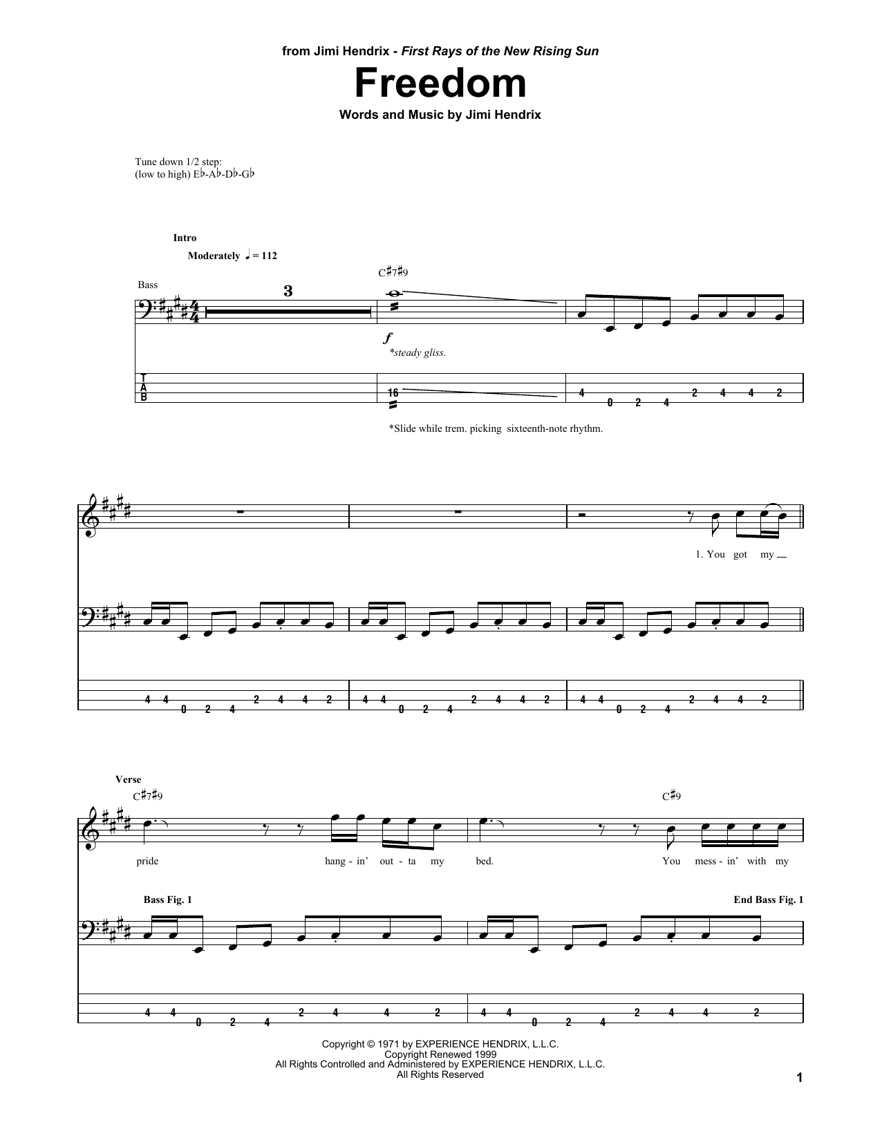 Freedom Sheet Music Jimi Hendrix Bass Guitar Tab