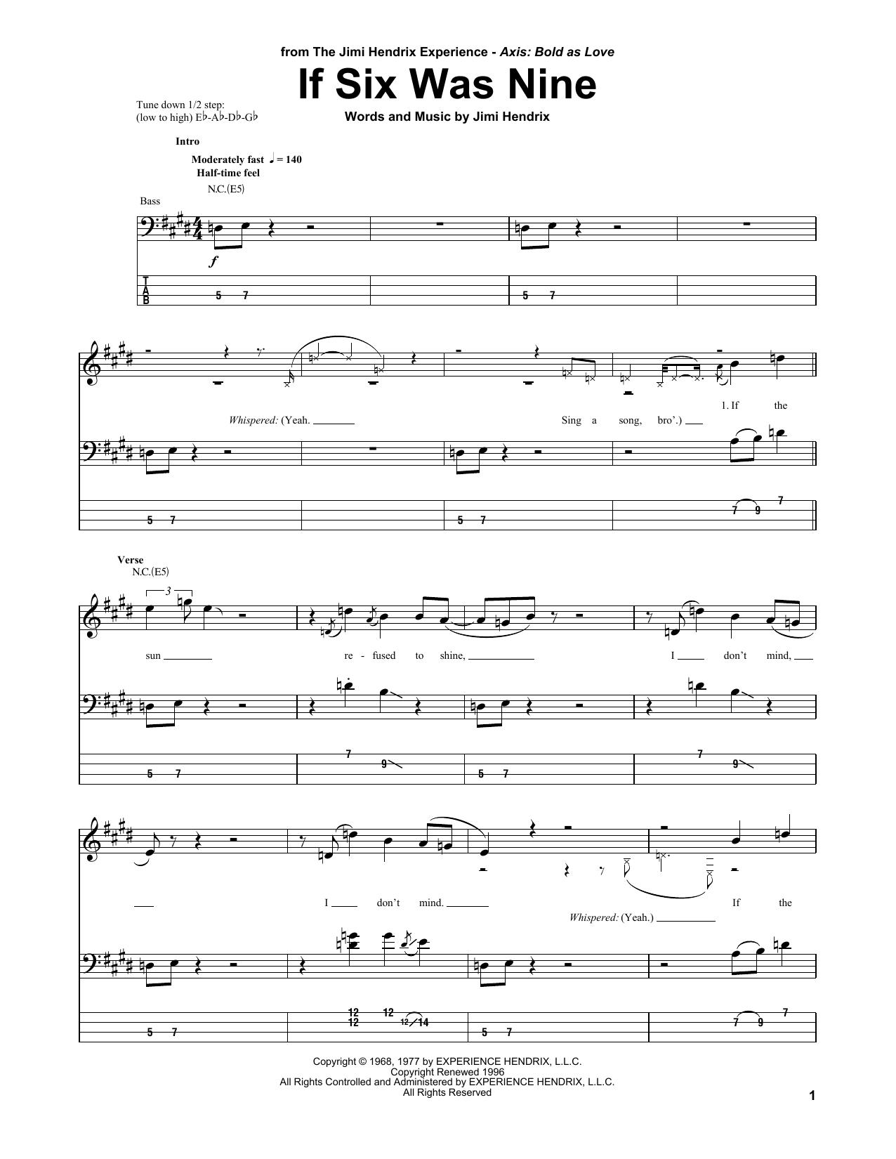 If Six Was Nine (Bass Guitar Tab)