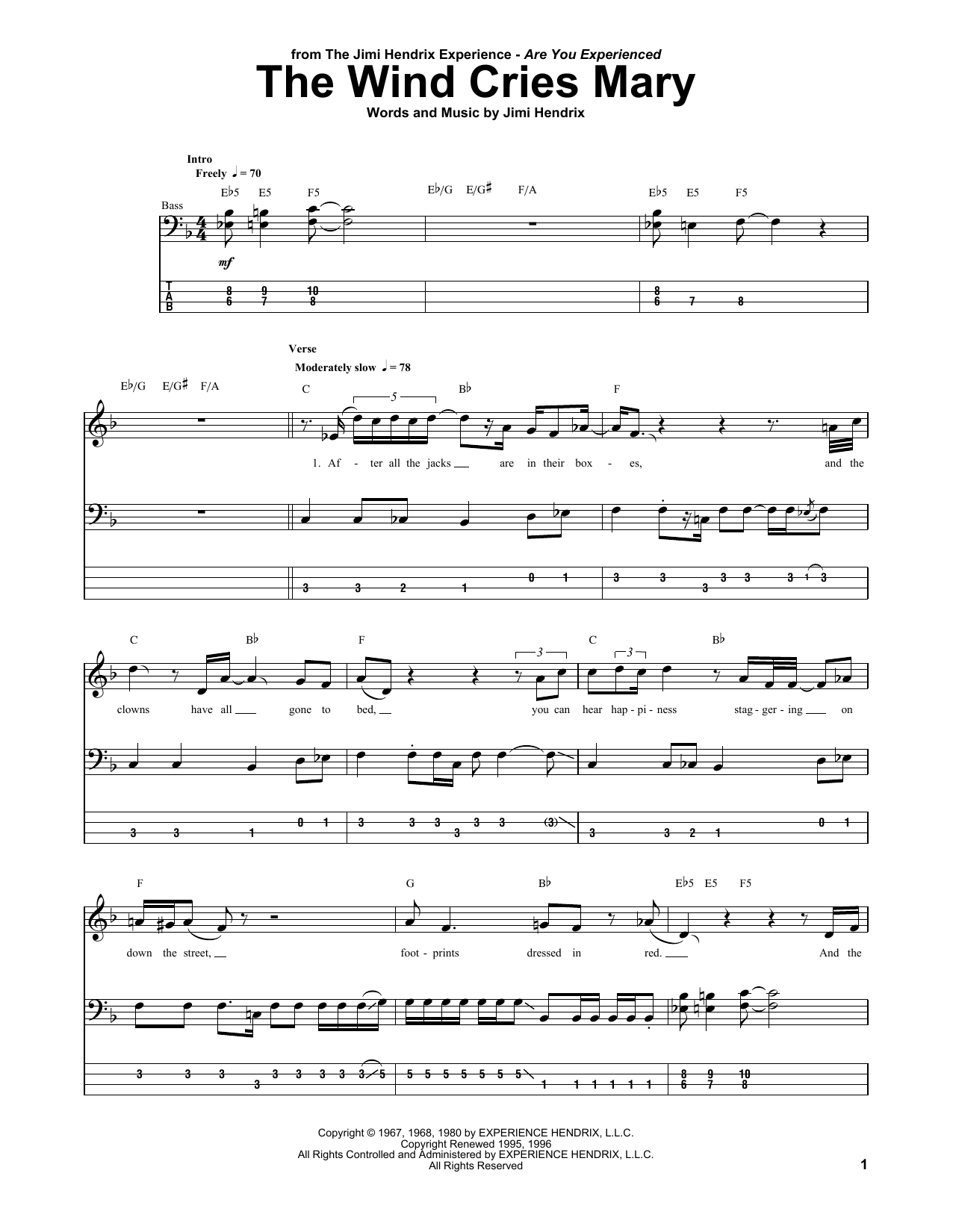 The Wind Cries Mary (Bass Guitar Tab)