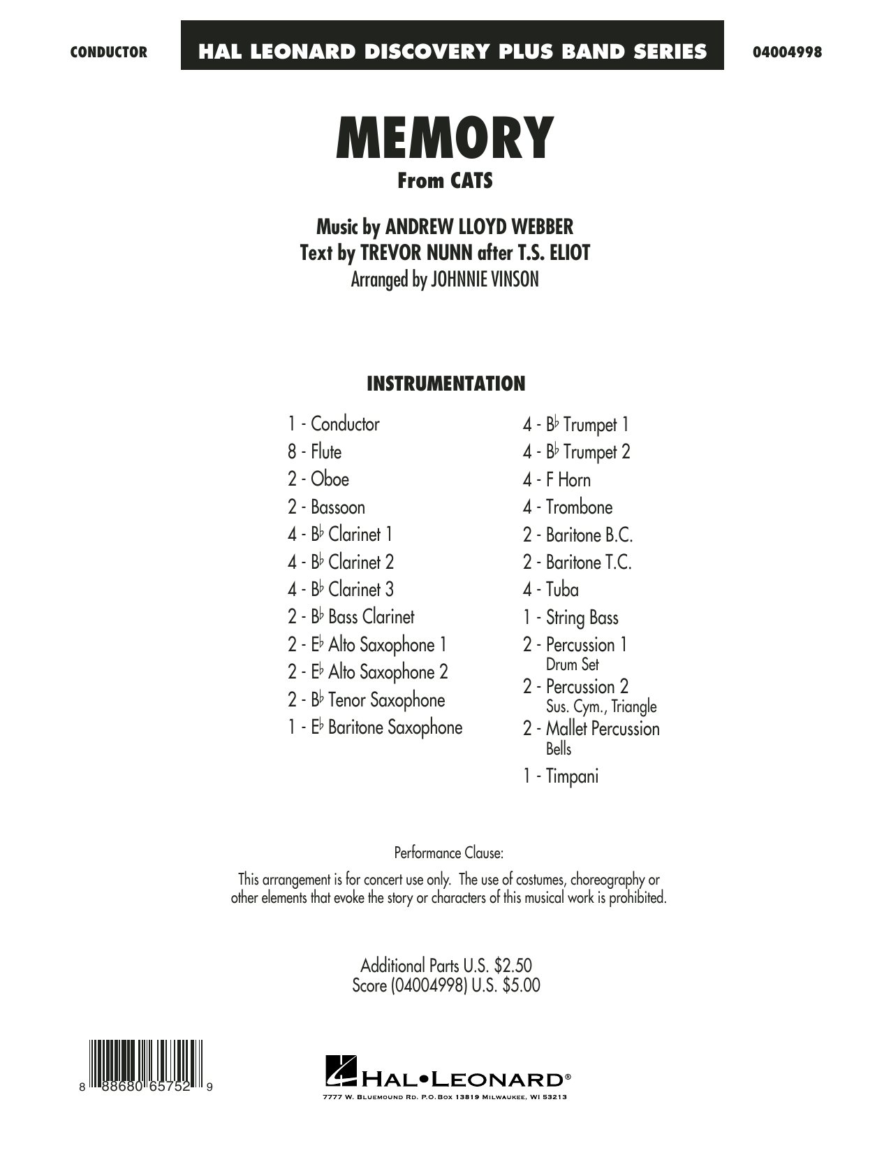 Memory (from Cats) (arr. Johnnie Vinson) - Conductor Score (Full Score) Sheet Music