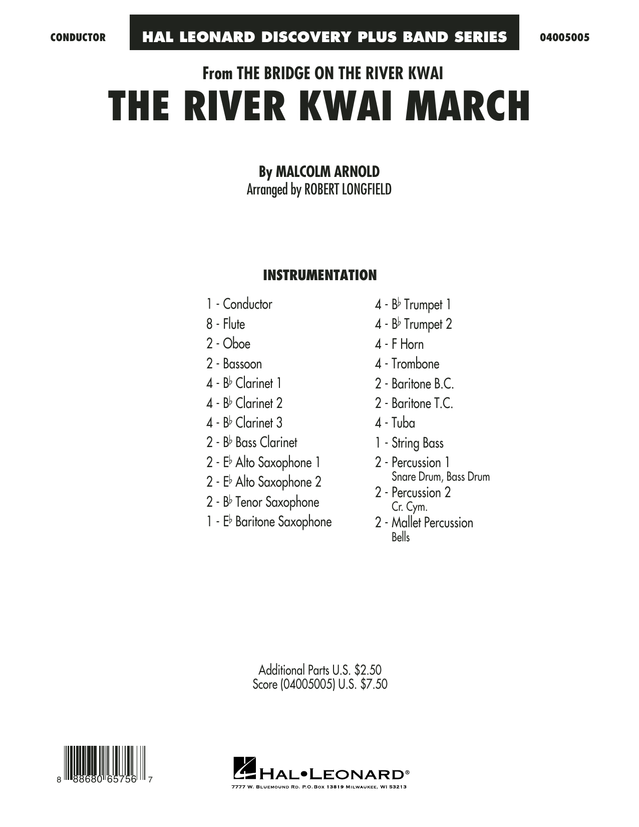 The River Kwai March (COMPLETE) sheet music for concert band by Robert Longfield and Malcolm Arnold. Score Image Preview.