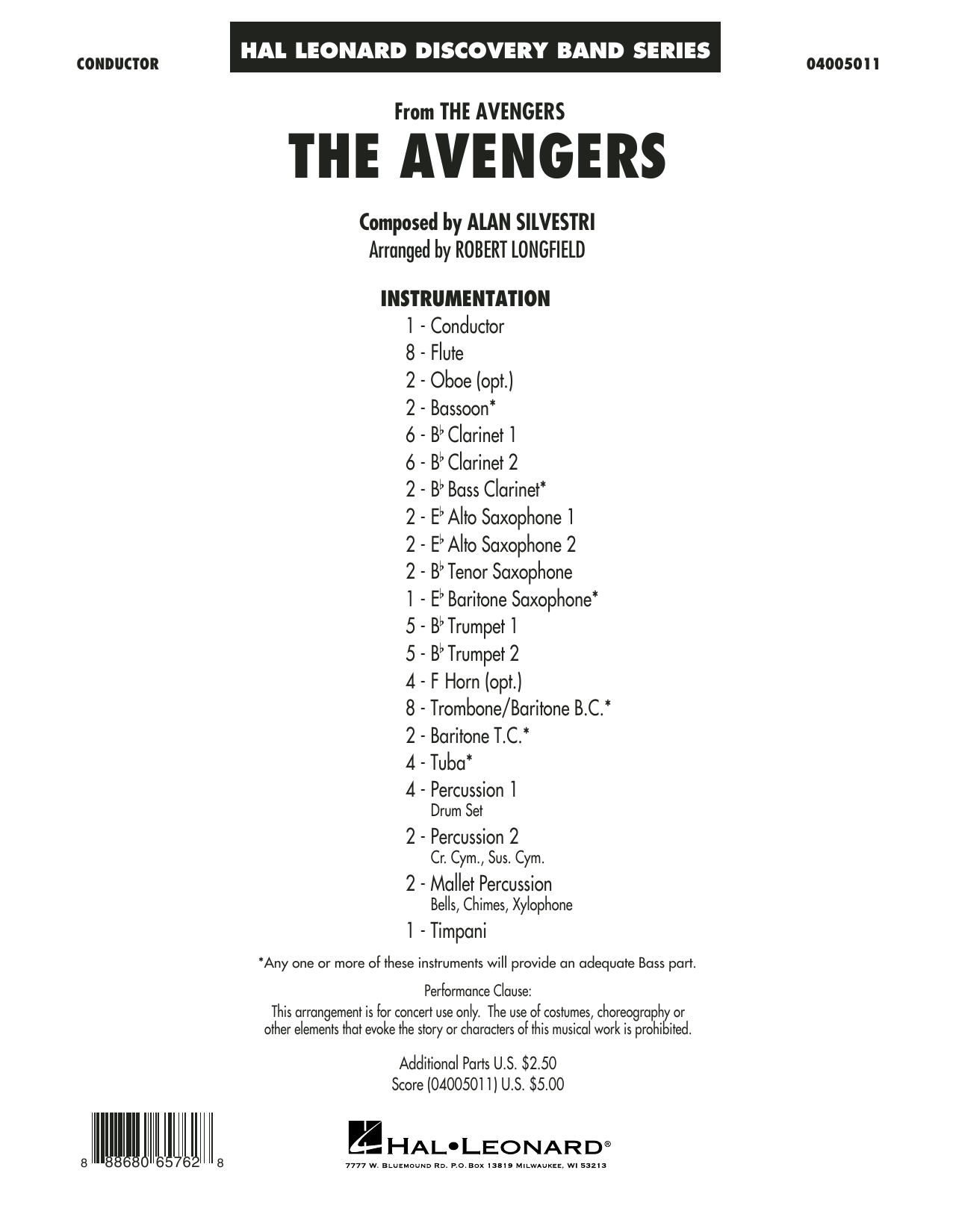 The Avengers (COMPLETE) sheet music for concert band by Robert Longfield and Alan Silvestri. Score Image Preview.